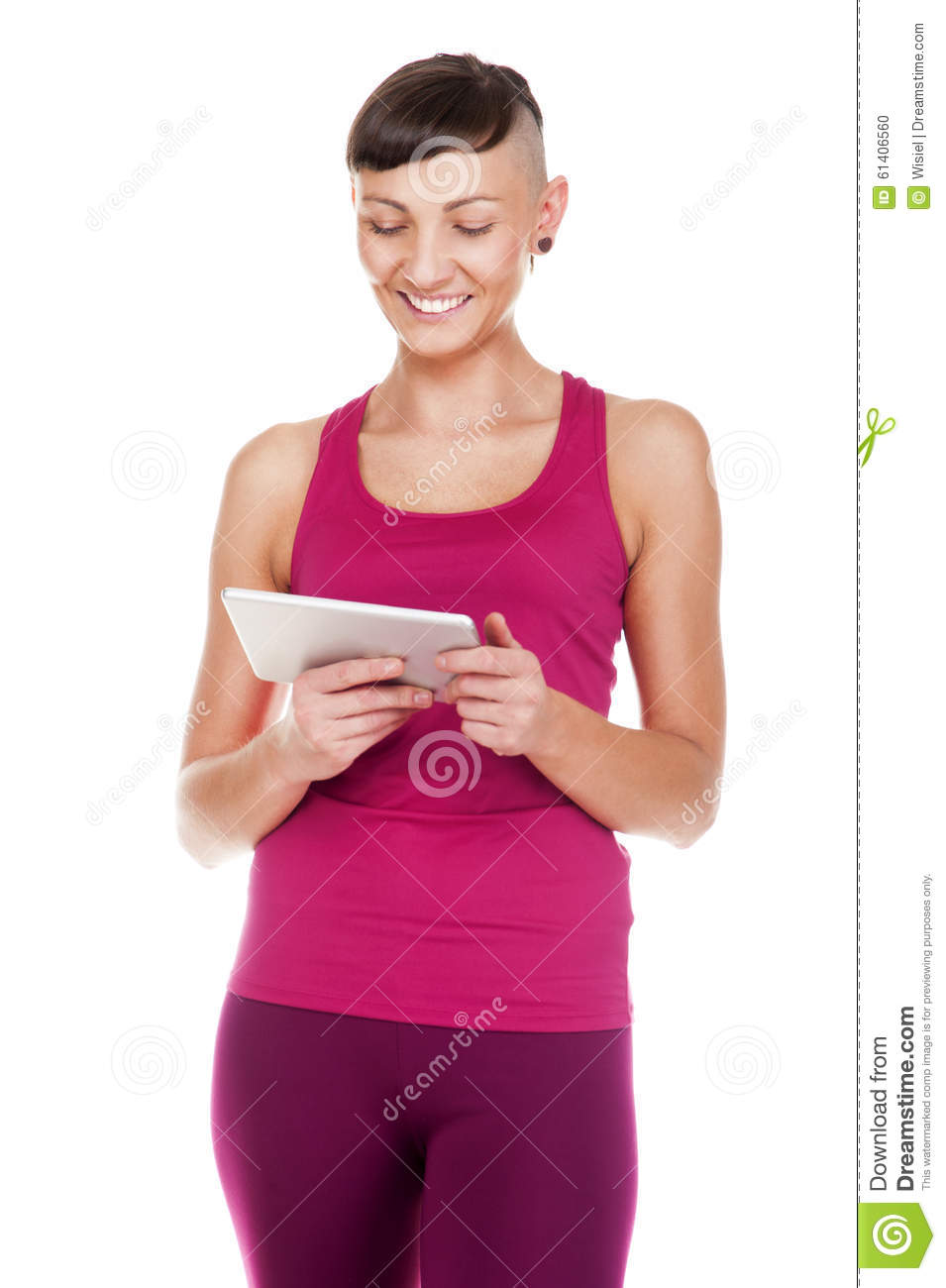 Portriat of woman with tablet, Isolated on white background. Smiling.
