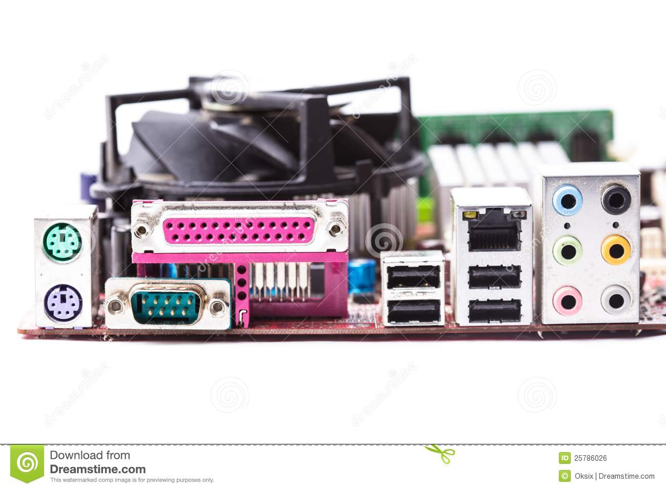 Ports On The Motherboard Stock Photo Image Of Industry