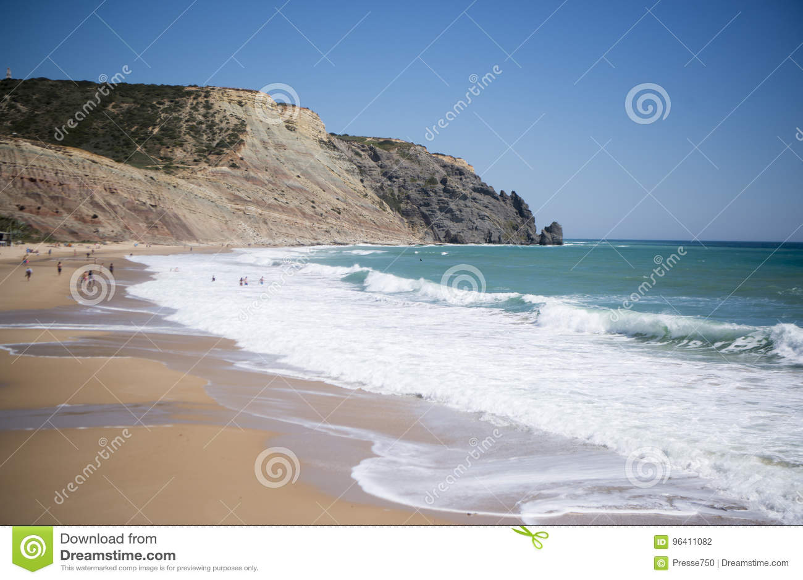 Download PORTUGAL ALGARVE LUZ BEACH stock photo. Image of algarve - 96411082