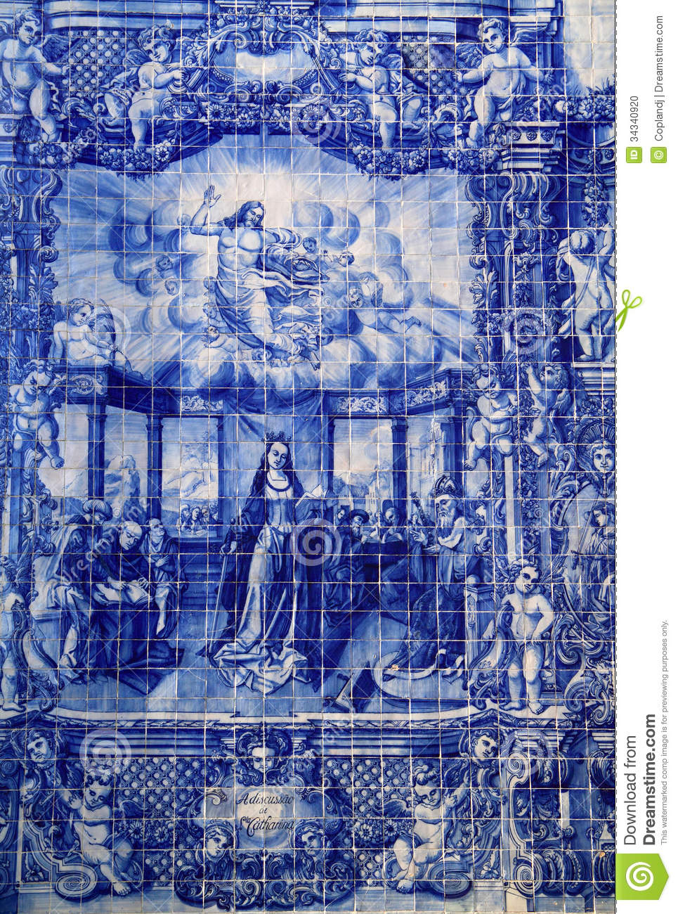 Portugal Blue And White Ceramic Azulejo Tiles Stock Photo