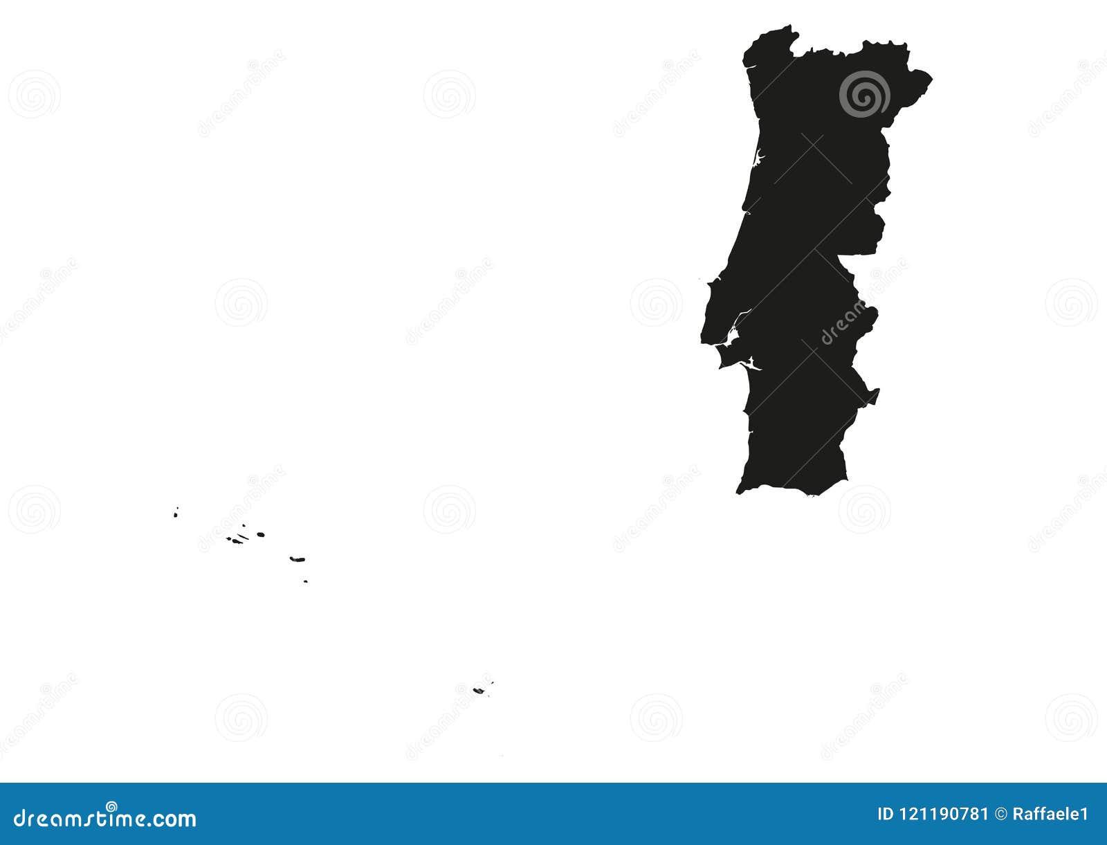 Portugal Com Acores E Estado De Madeira Traca A Silhueta Do Vetor