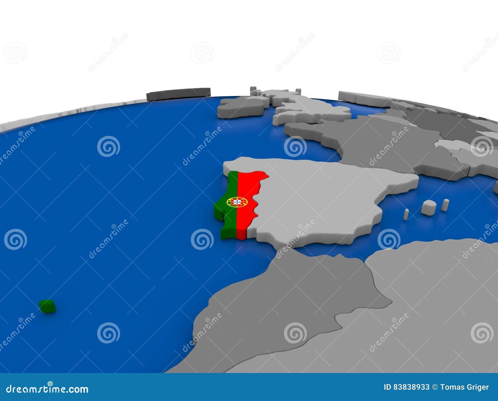 Portugal On D Globe Stock Illustration Image - Portugal globe map