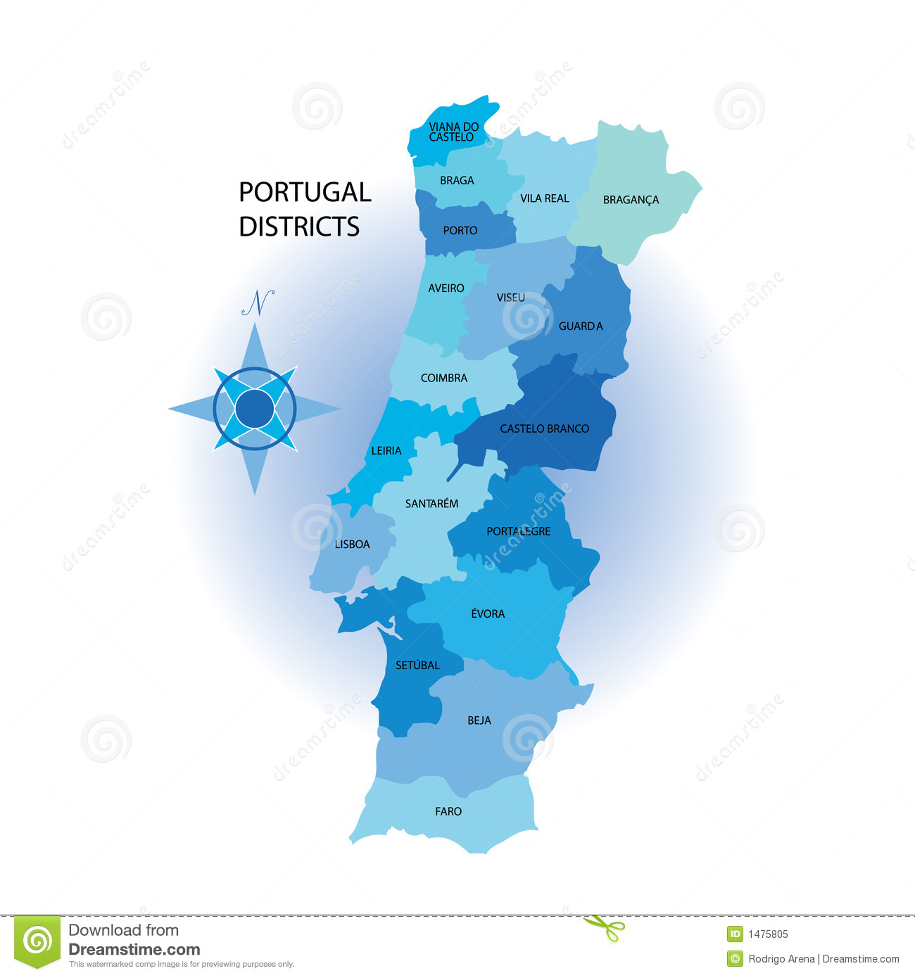Portugal Districs Map Royalty Free Stock Photo Image - Portugal map vector