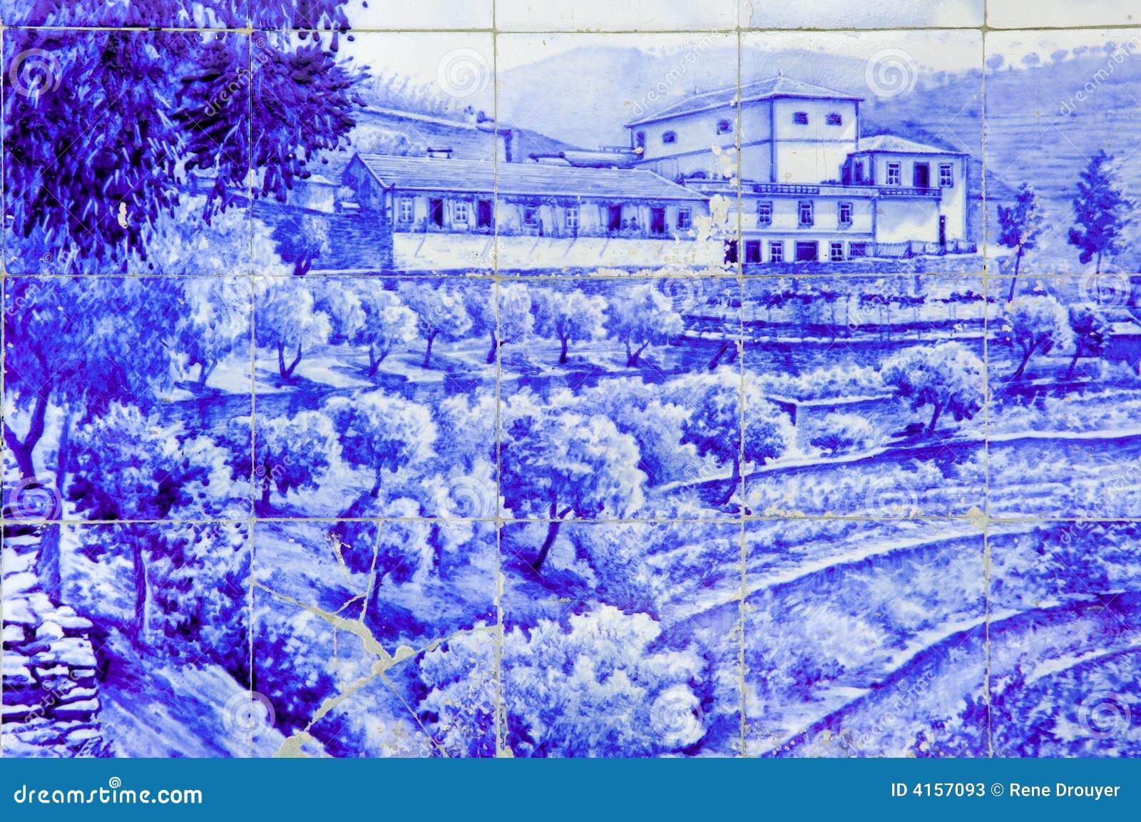 Portugal, Douro vallei, Pinhao: keramiek, Azulejo