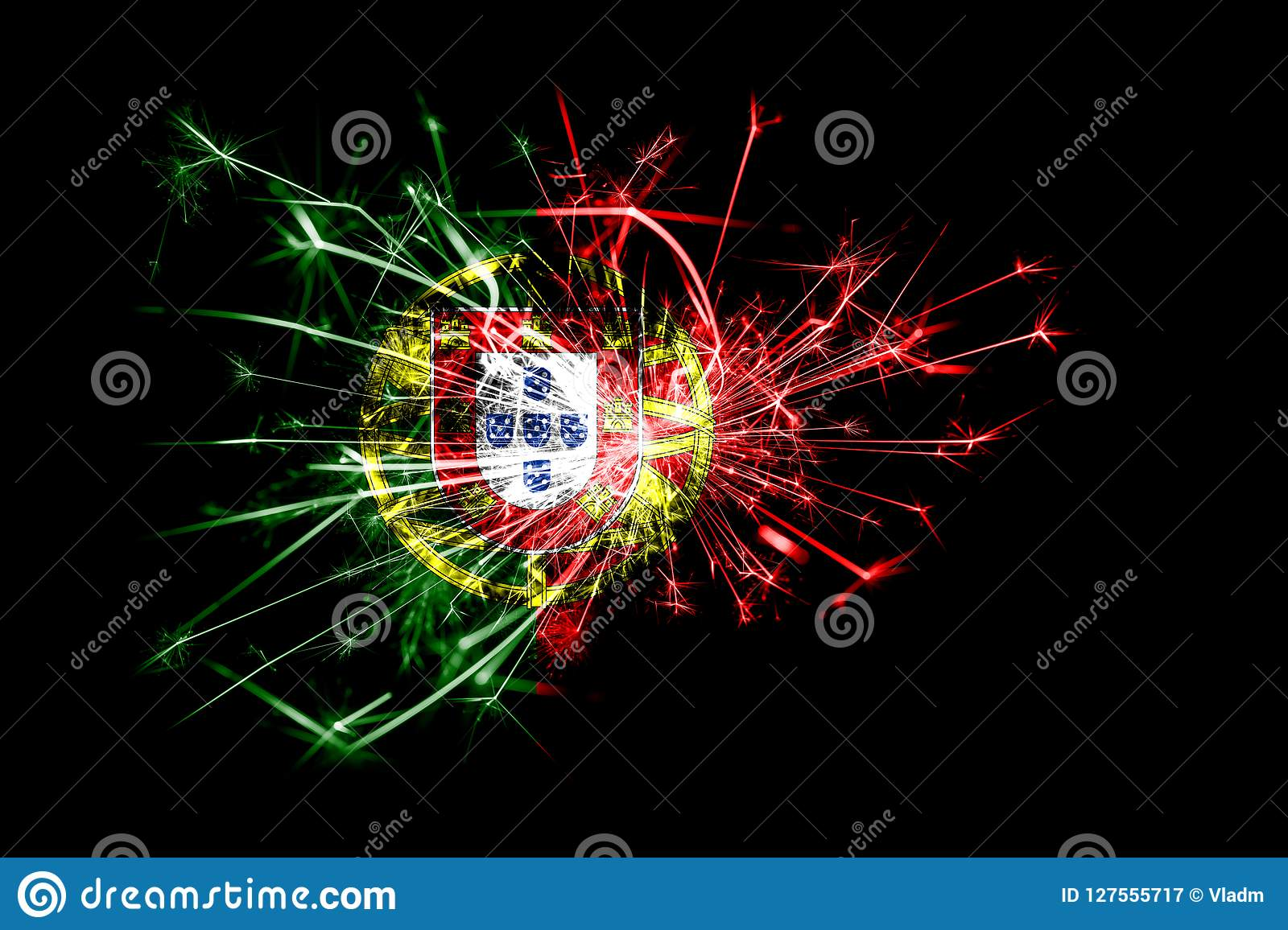 Christmas In Portugal 2019.Portugal Fireworks Sparkling Flag New Year 2019 And
