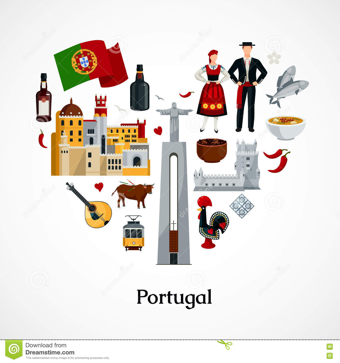 Portugal flat illustration stock vector image 77985843 for Cuisine design portugal