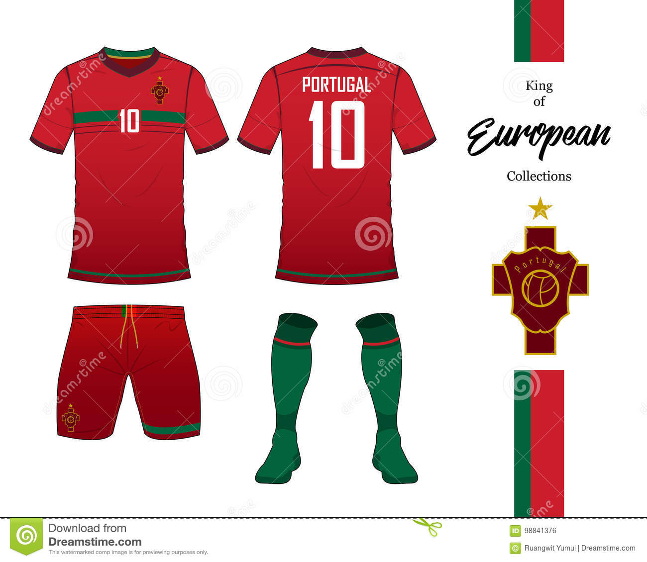 794995fce Portugal football national team uniform. Soccer jersey or football kit  template. Football logo in flat design. Front and rear view soccer t-shirt  mock up.