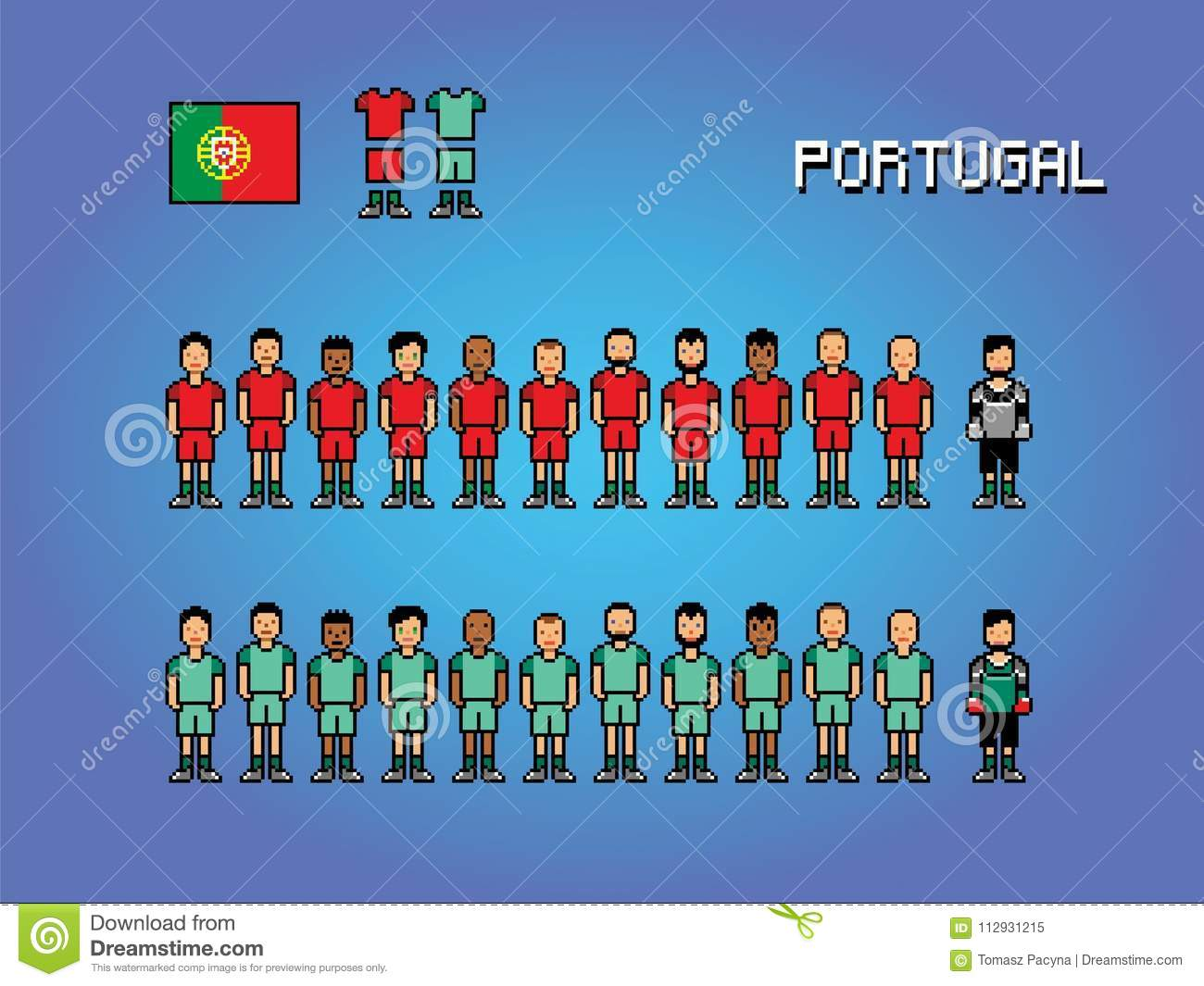 Portugal Football Team Player Uniform Pixel Art Game