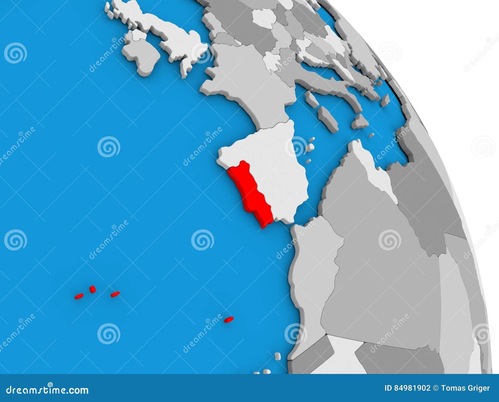 Portugal On Globe Stock Illustration Image - Portugal globe map