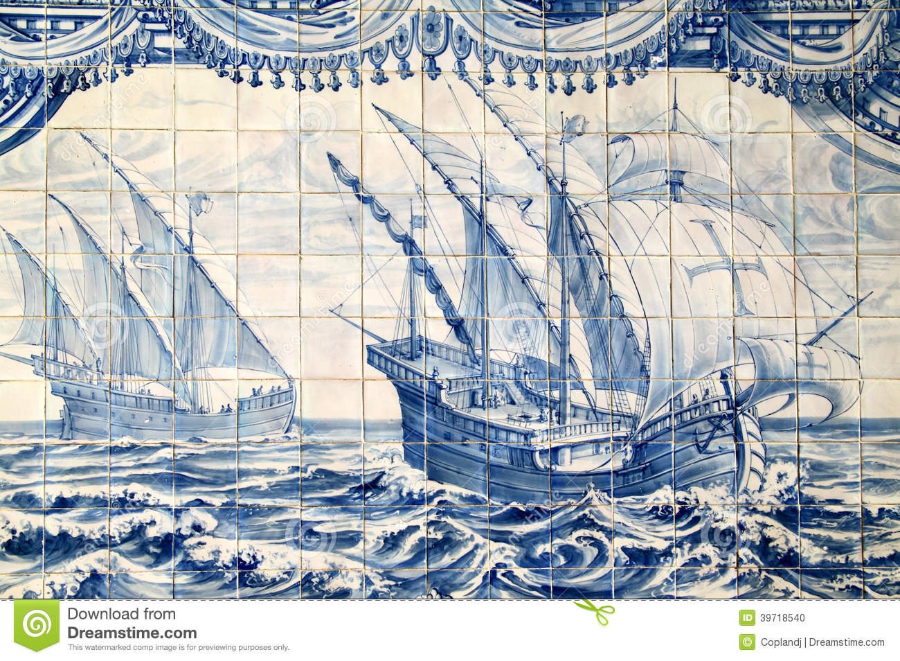 Portugal Historical Azulejo Ceramic Tiles Stock Photo