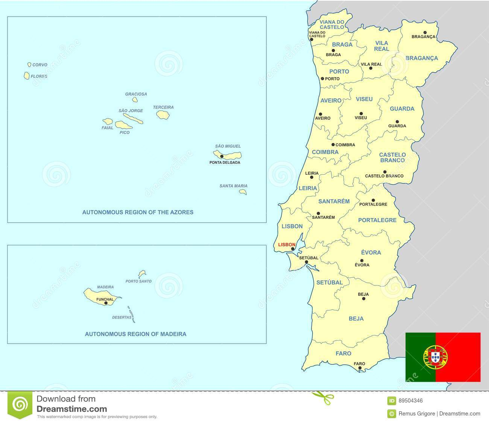 Azoren Karte Portugal.Portugal Karte Vektor Abbildung Illustration Von Azoren 89504346