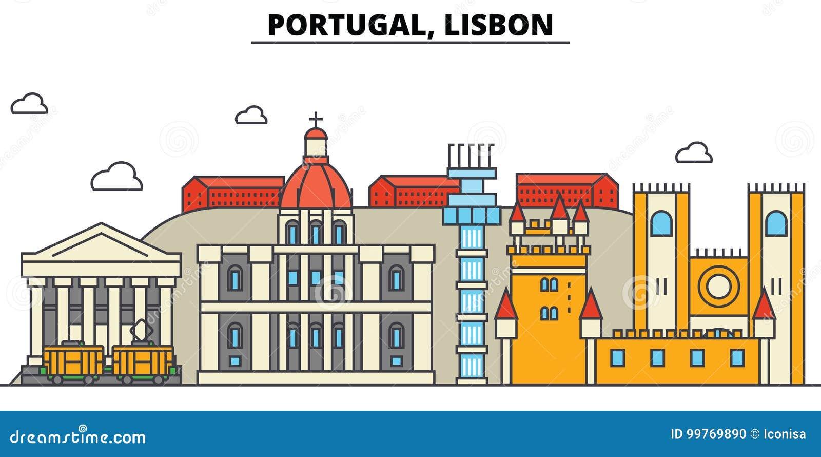 Portugal, Lissabon De architectuur van de stadshorizon editable