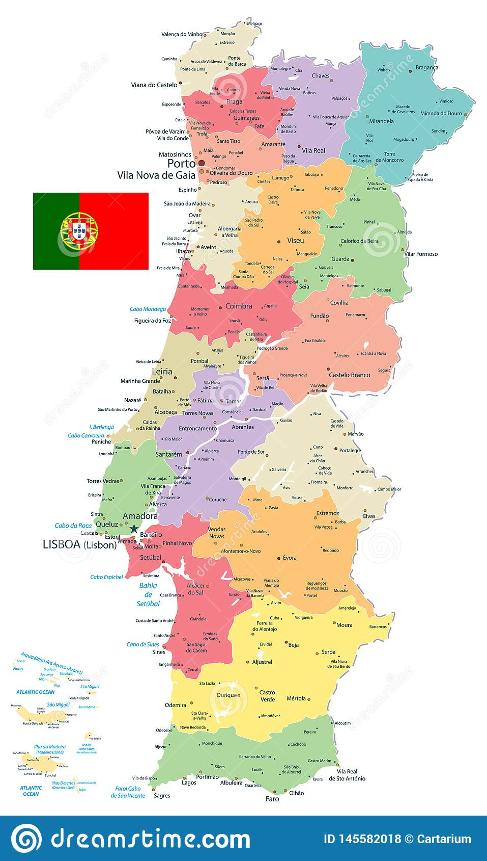 Picture of: Portugal Map Administrative Divisions Isolated On White Stock Vector Illustration Of Capital Geography 145582018