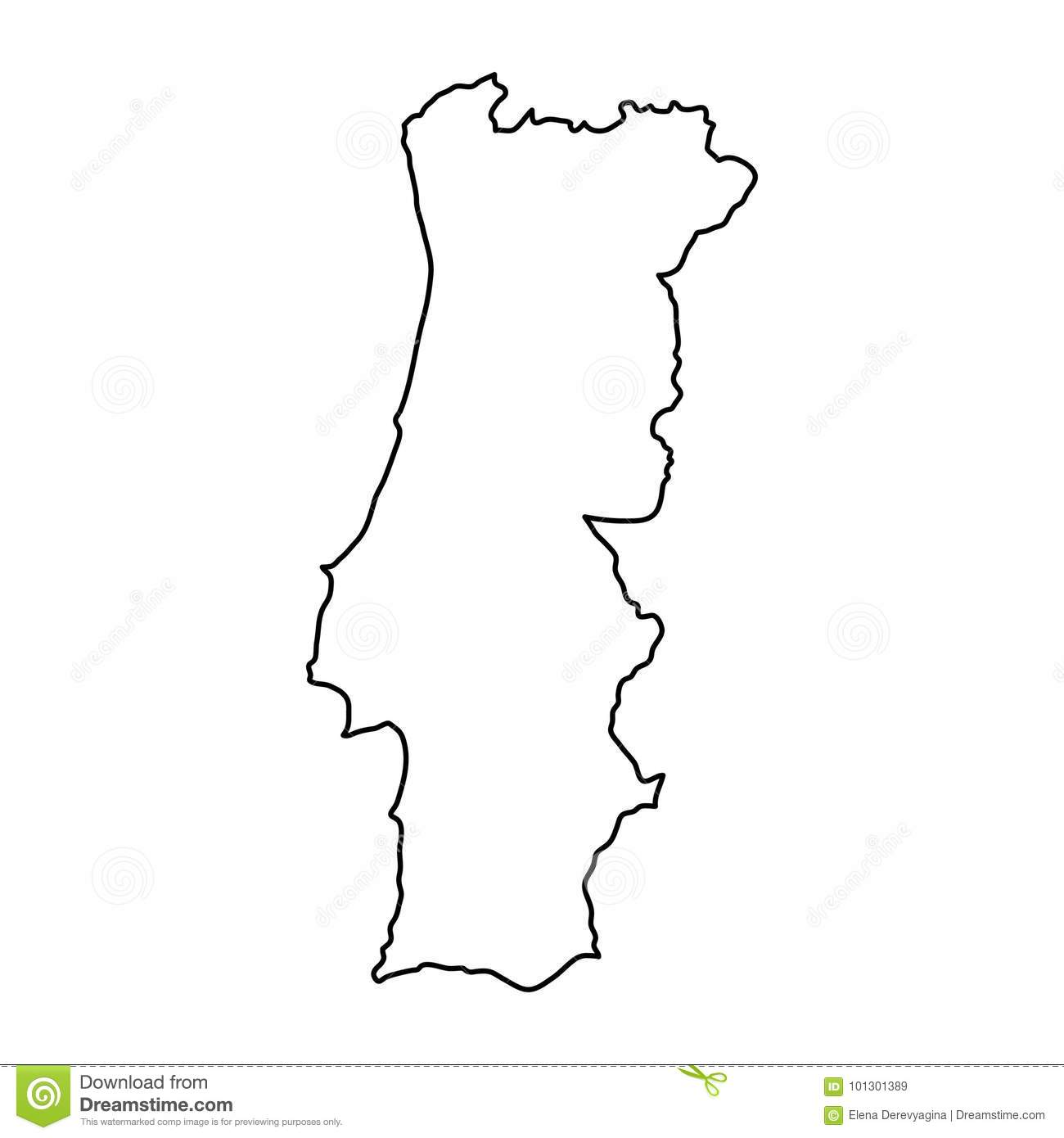 mapa de portugal vectorizado Portugal Map Of Black Contour Curves, Vector Illustration Stock  mapa de portugal vectorizado