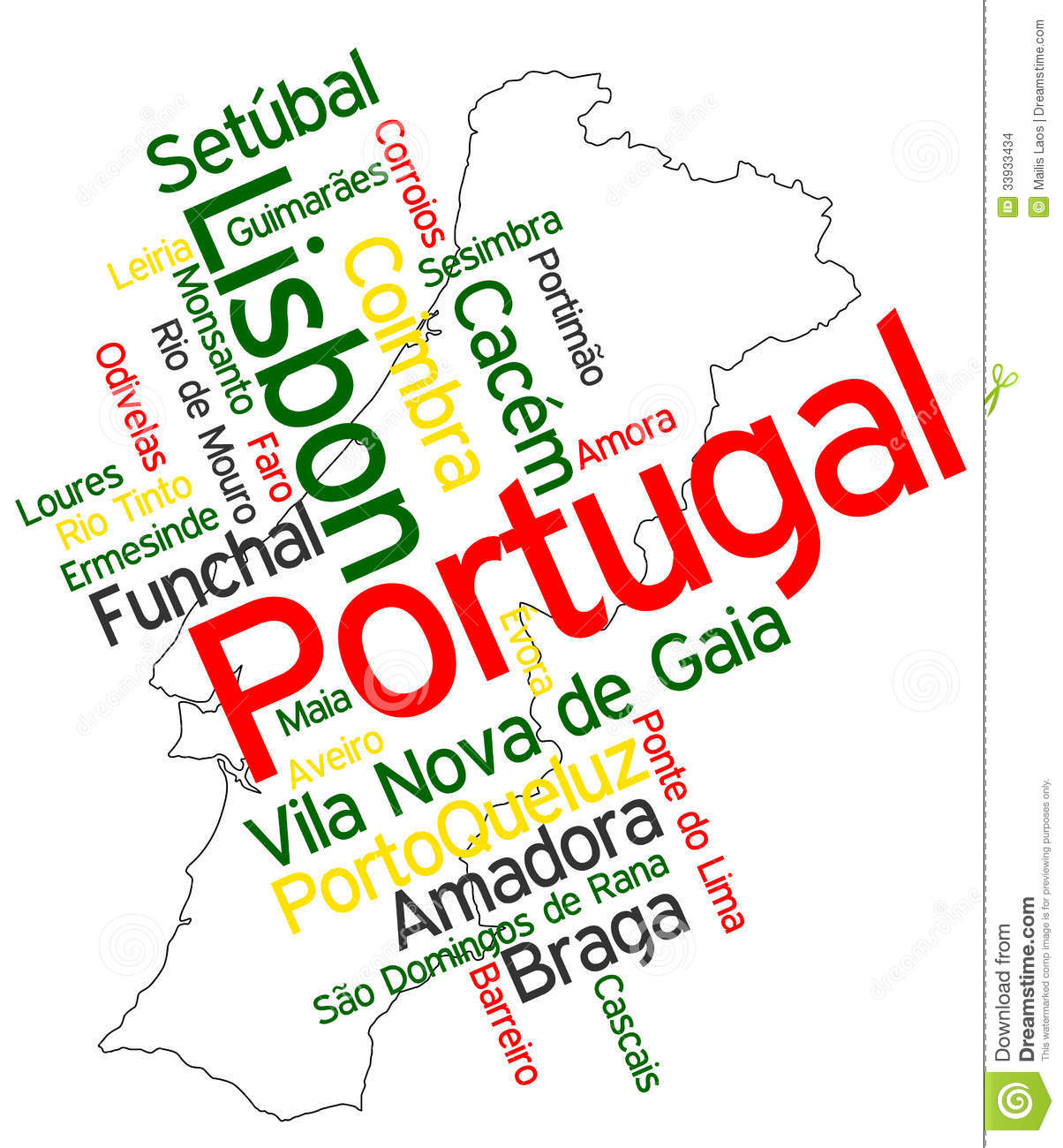 Download Portugal map and cities stock vector. Illustration of word - 33933434