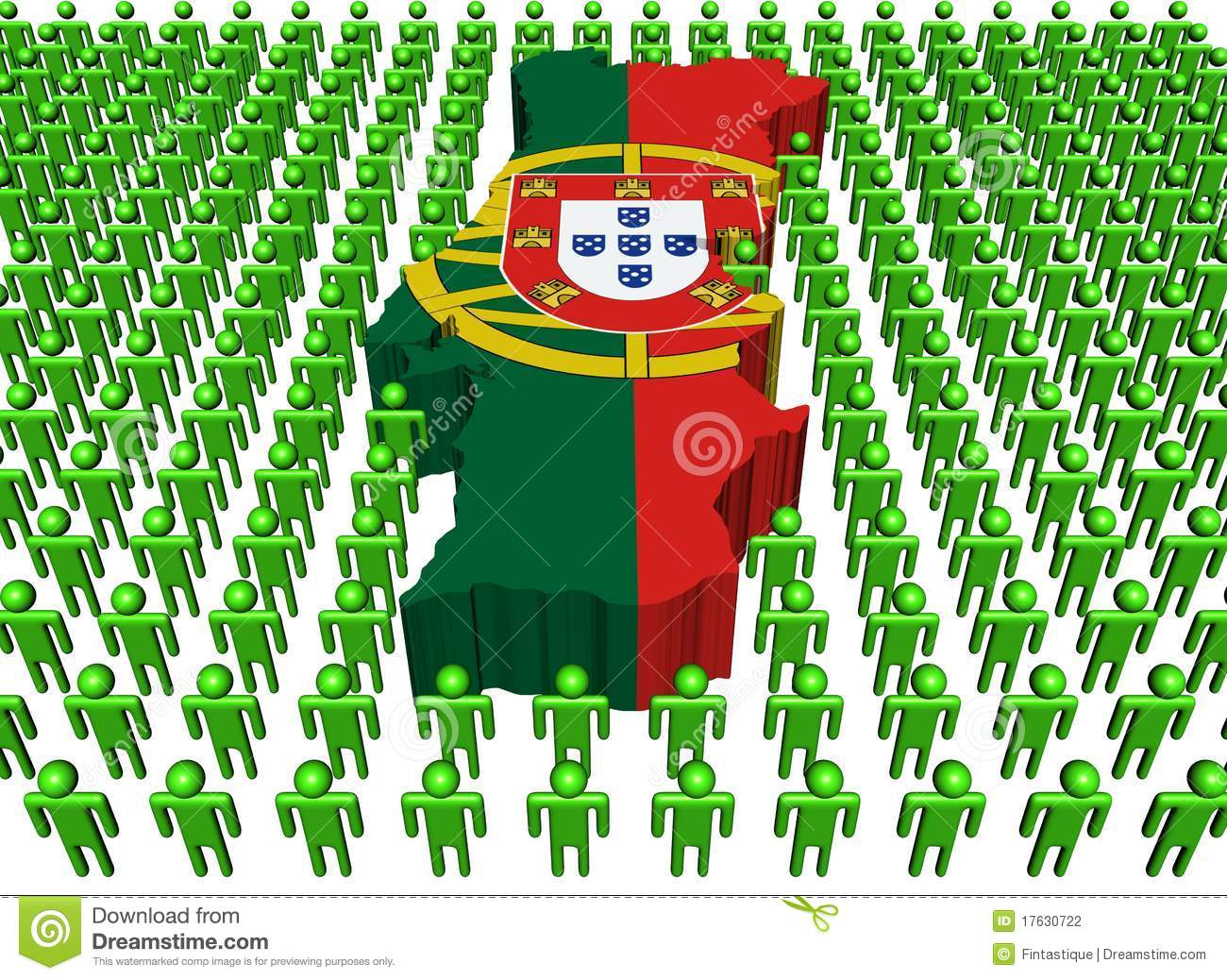 Portugal Map Flag With Many Peop Stock Photography Image - Portugal map flag