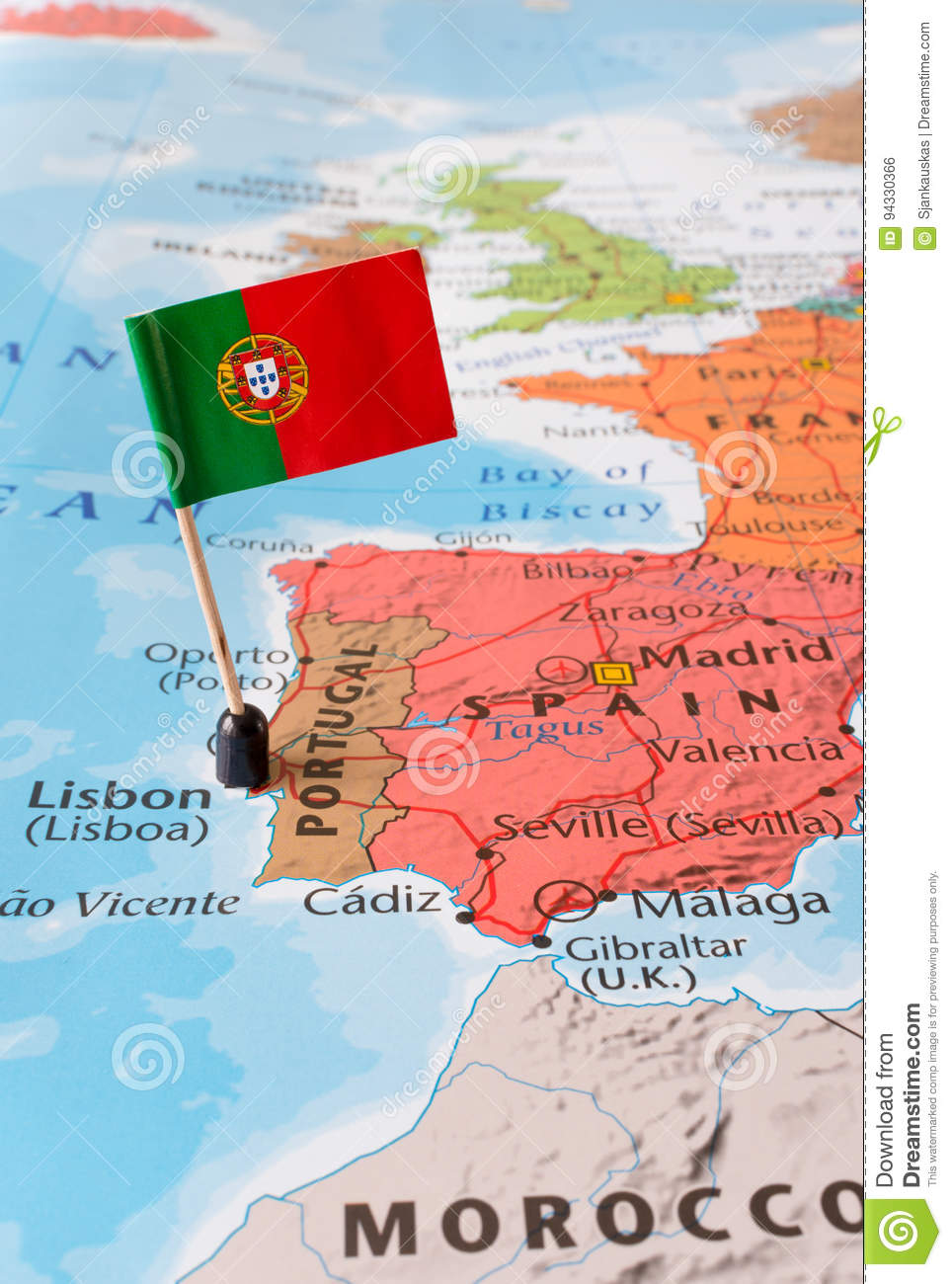 Portugal Map And Flag, Travel Concept Stock Photo - Image of paper ...