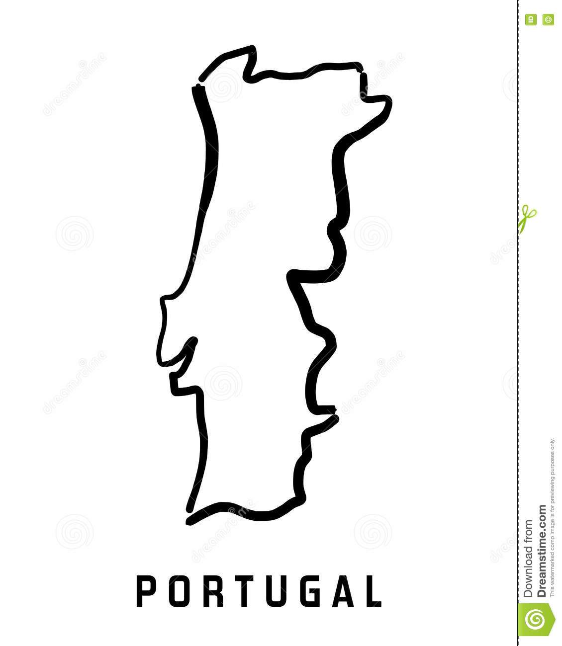Portugal Map Stock Vector Image - Portugal map black and white