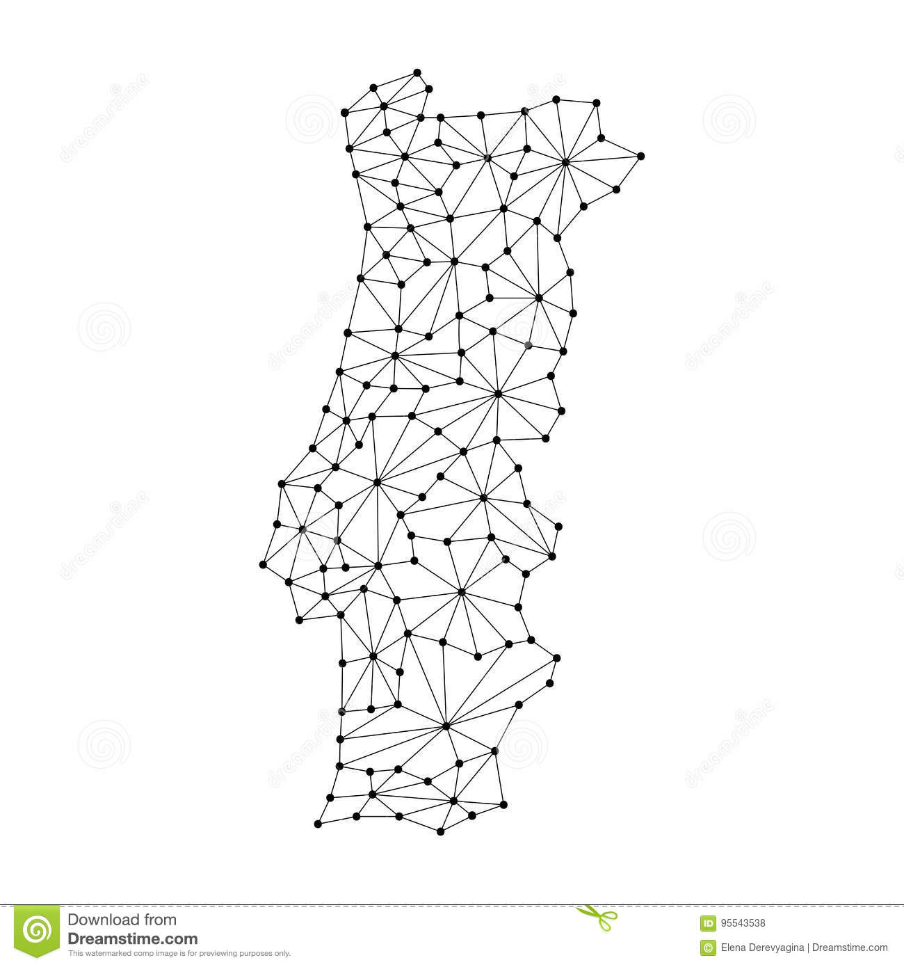 Portugal Map Of Polygonal Mosaic Lines Rays Dots Illustration - Portugal map black and white