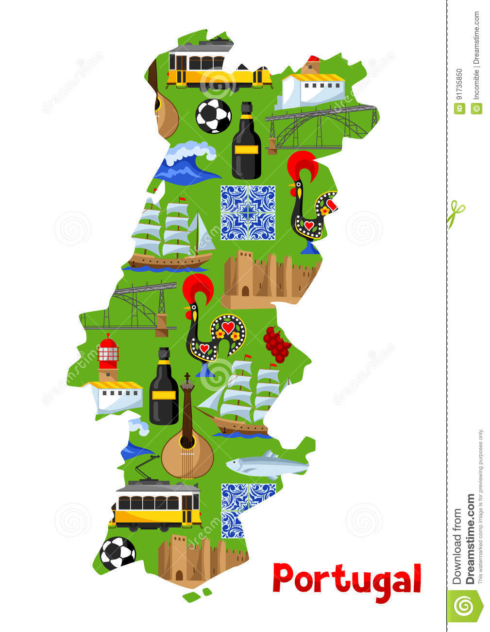 Portugal Map Portuguese National Traditional Symbols And Objects - Portugal map
