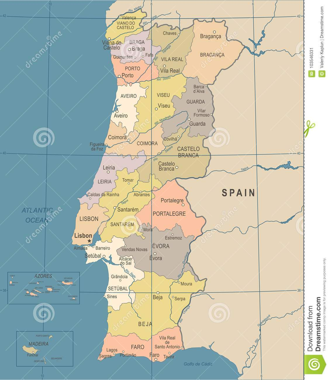 Picture of: Portugal Map Vintage Vector Illustration Stock Illustration Illustration Of World Geography 103546331