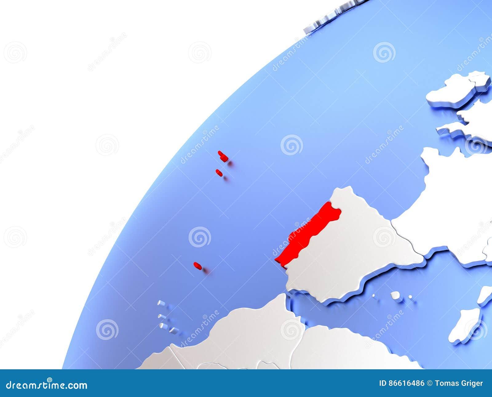 Portugal On Modern Shiny Globe Stock Illustration Image - Portugal globe map