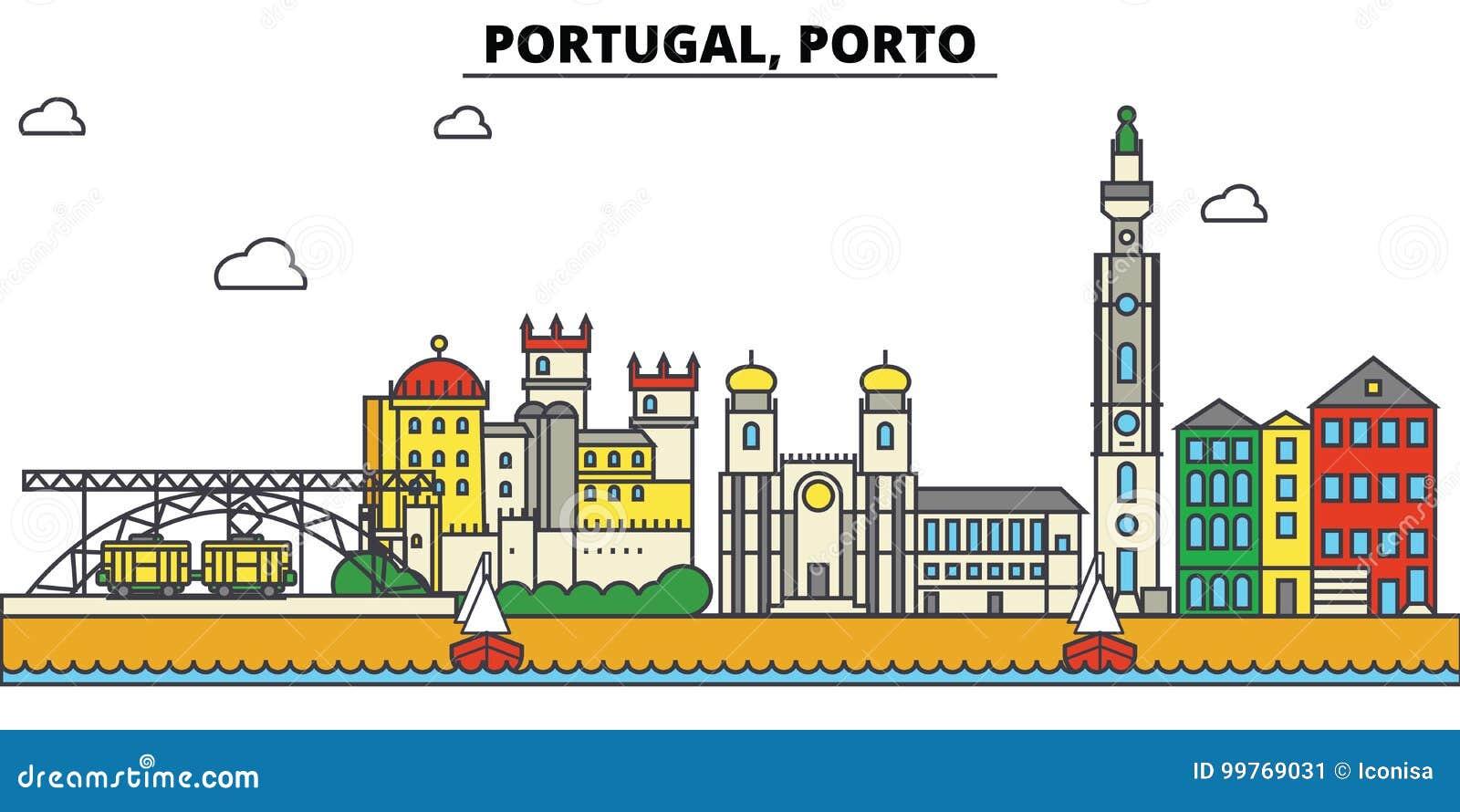 Portugal, Porto De architectuur van de stadshorizon editable