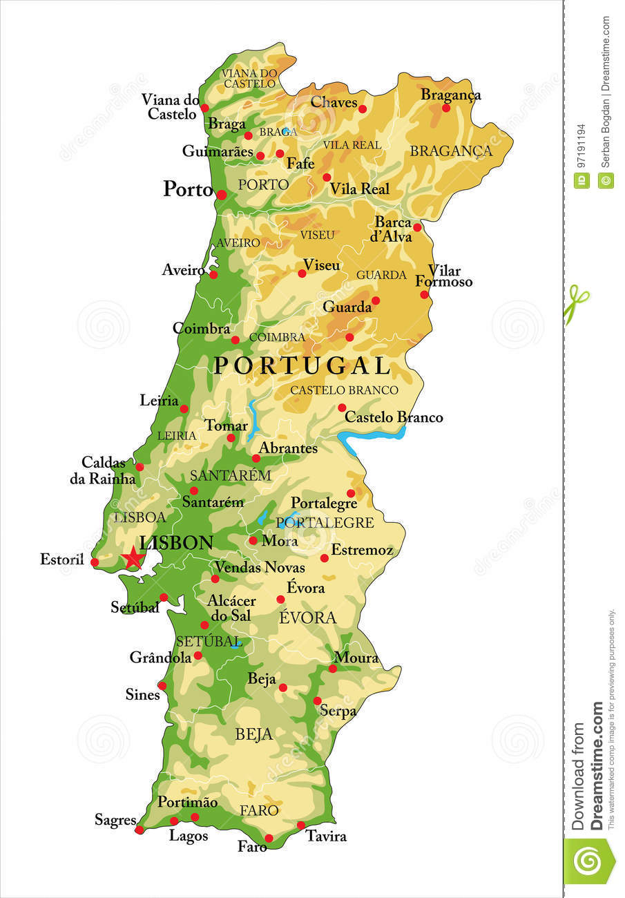 Portugal Relief Map Stock Vector Illustration Of Portugal 97191194
