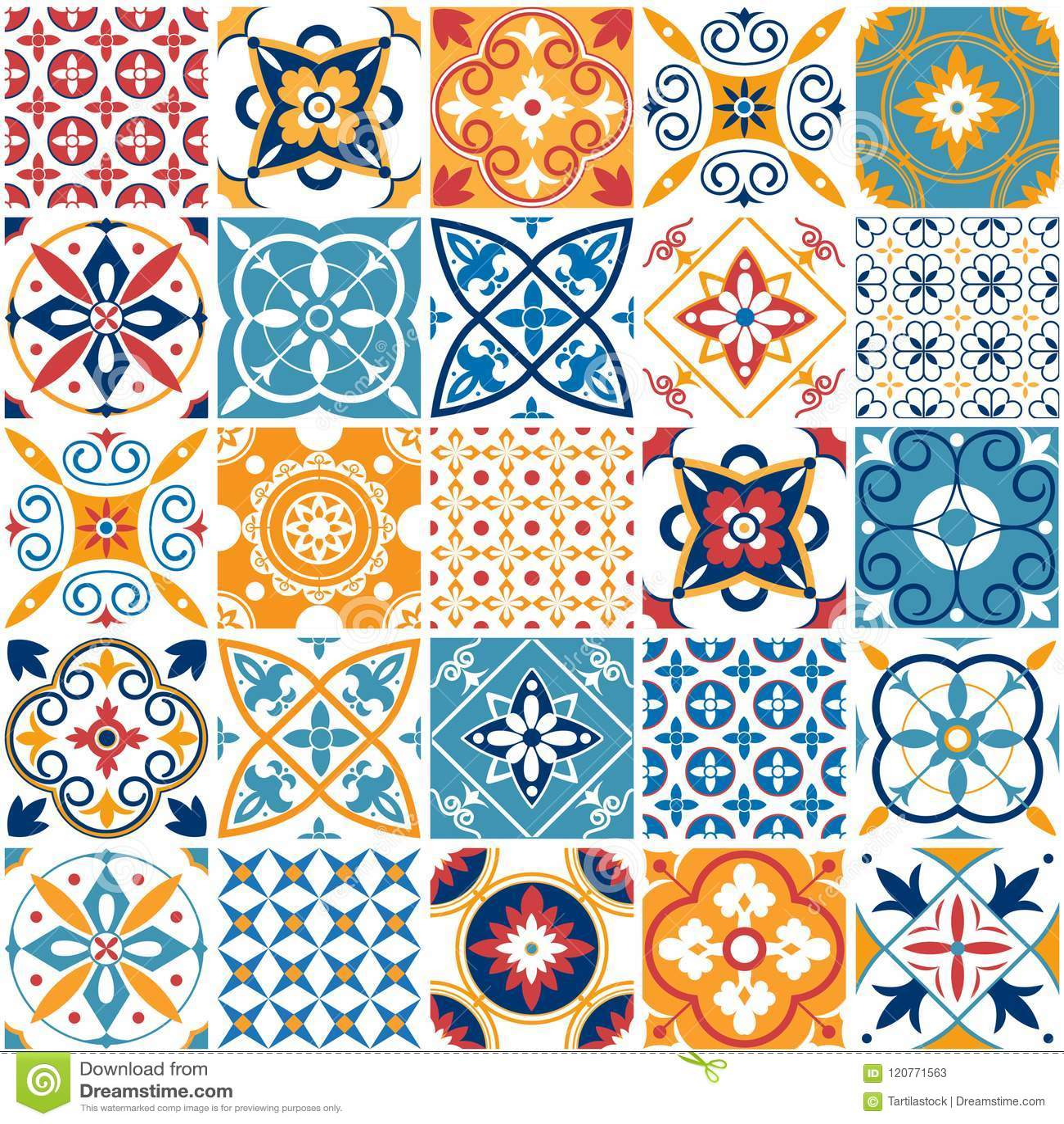 Designer White Abstract Ceramic Wall Tile Pack Of 8 L: Portugal Seamless Pattern. Vintage Mediterranean Ceramic