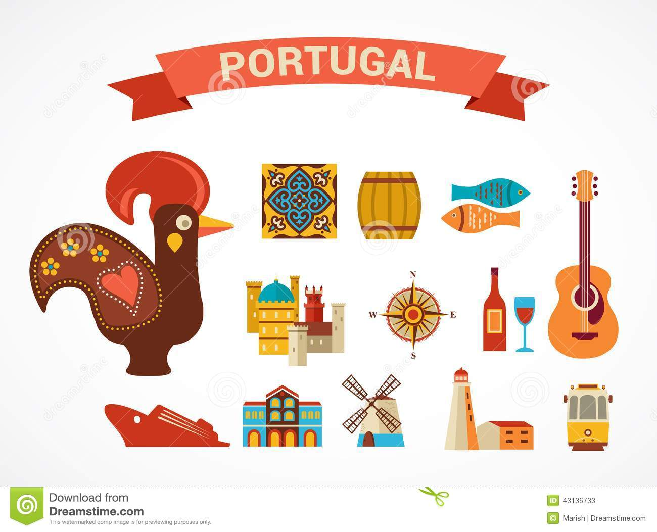 Portugal Set Of Vector Icons Stock Vector Illustration