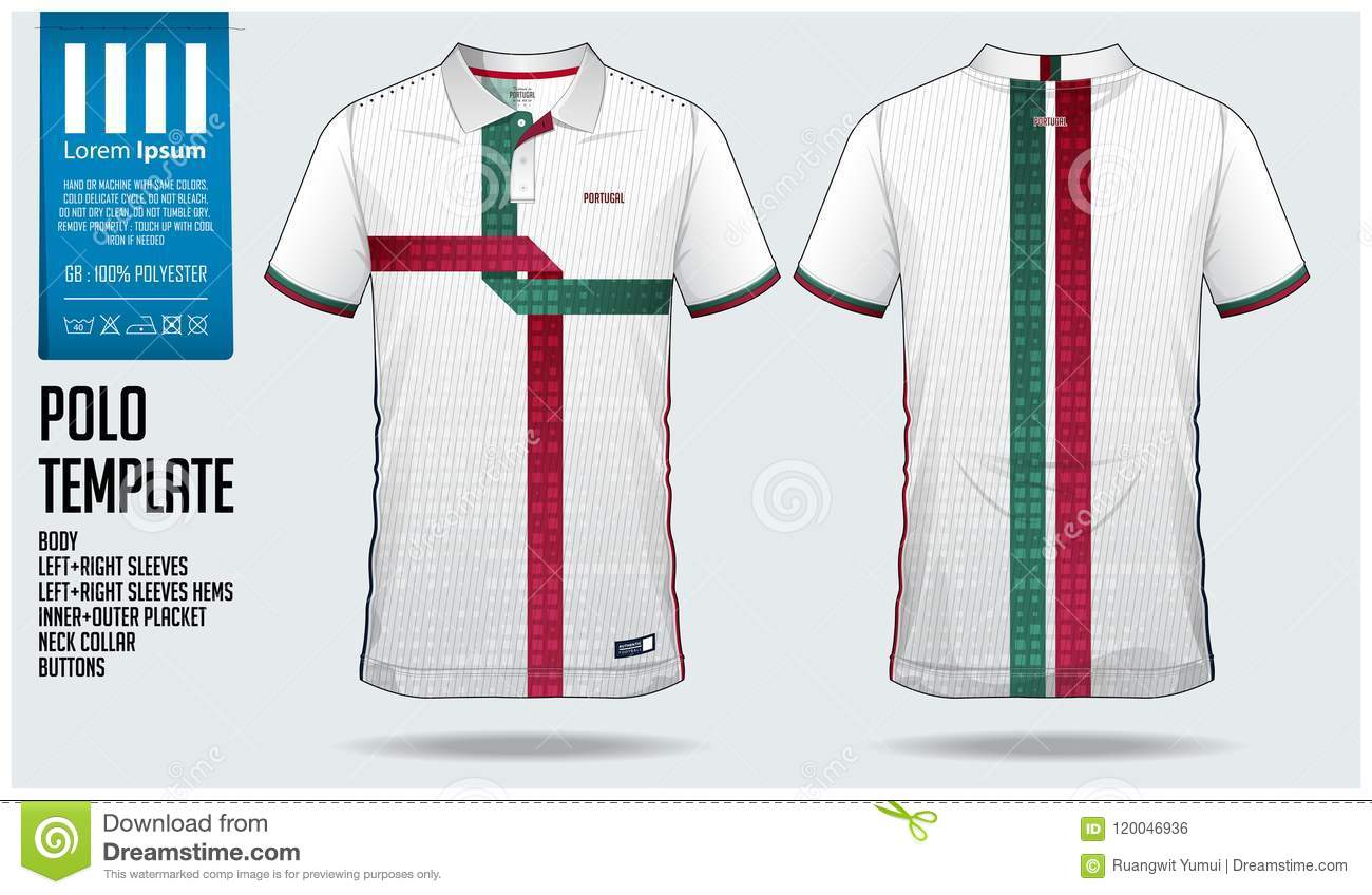 ae6d177eb Royalty-Free Vector. Portugal Team Polo t-shirt sport template design for soccer  jersey