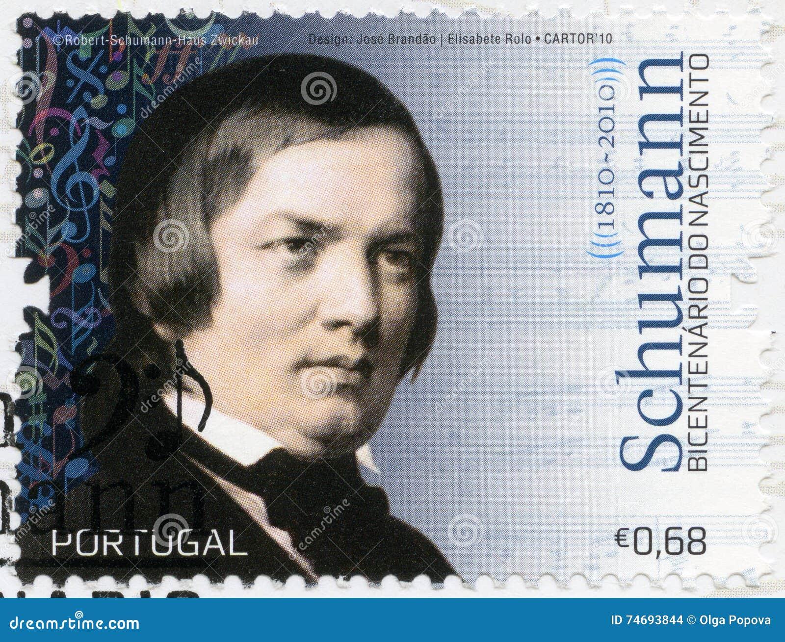 PORTUGAL - 2010: toont de pianist van Robert Schumann 1840-1893, van de componist en van de virtuoos