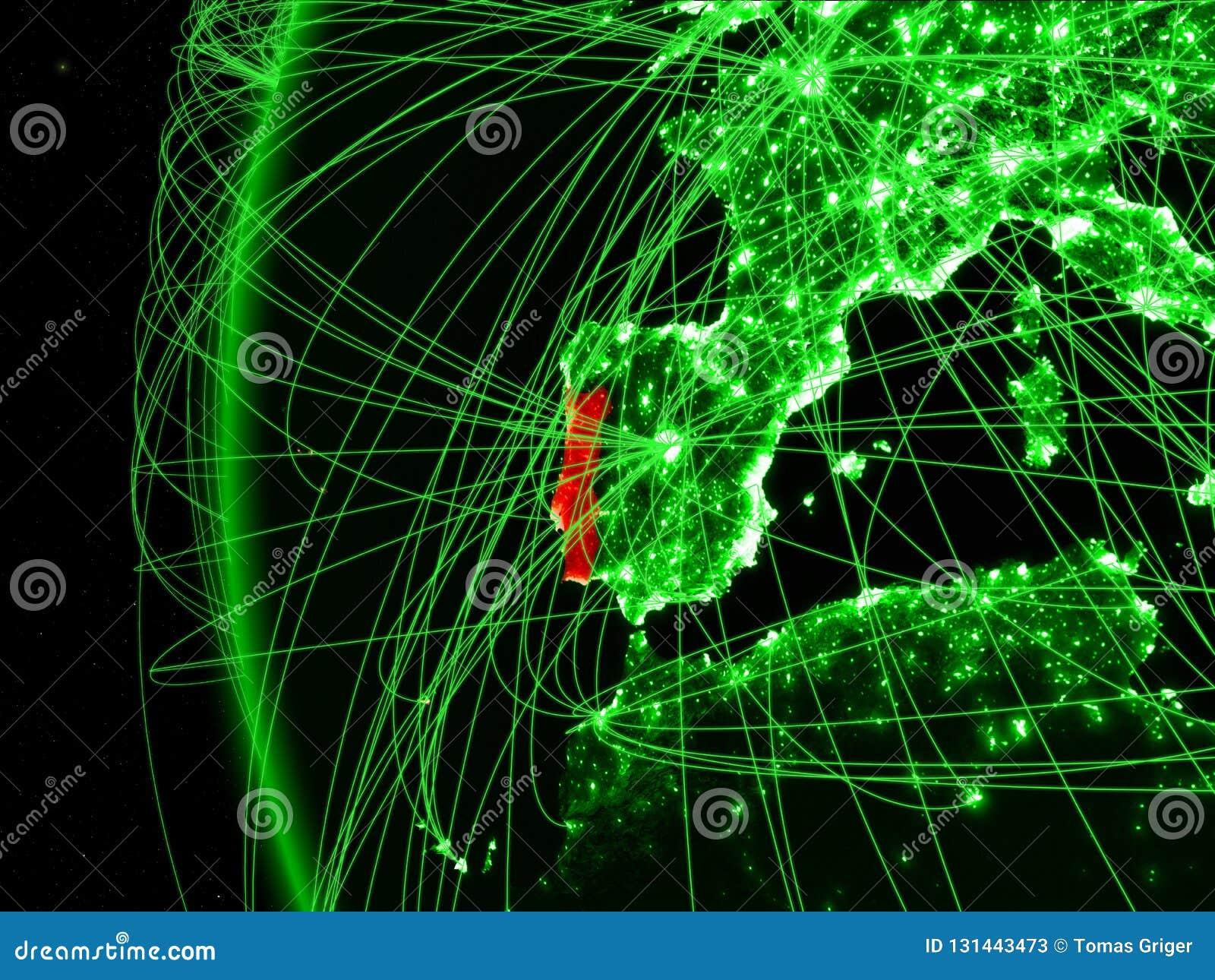 Portugal van ruimte op groen model van Aarde met internationale netwerken Concept groene mededeling of reis 3D Illustratie