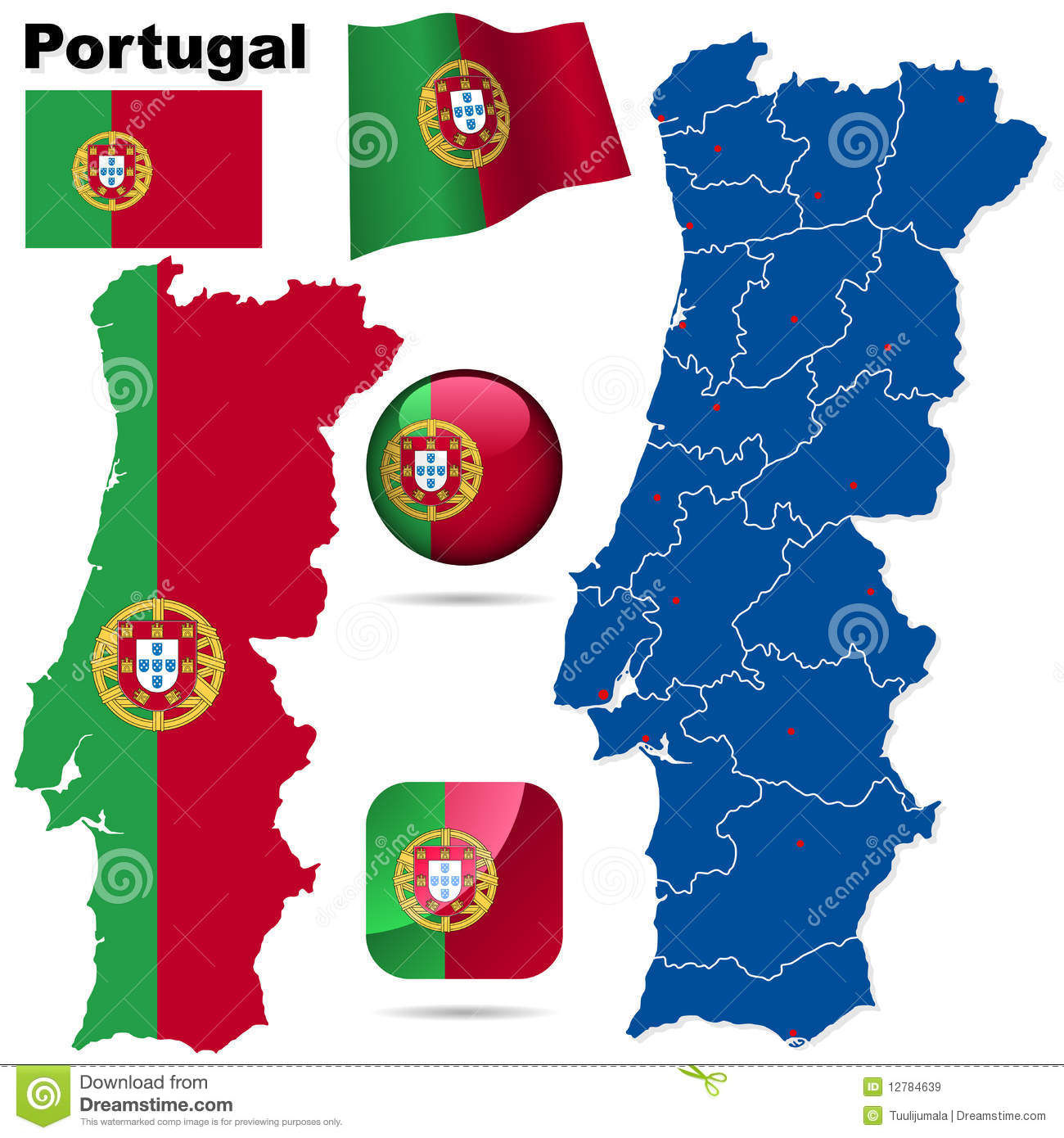 Portugal Vector Set Royalty Free Stock Images Image - Portugal map vector