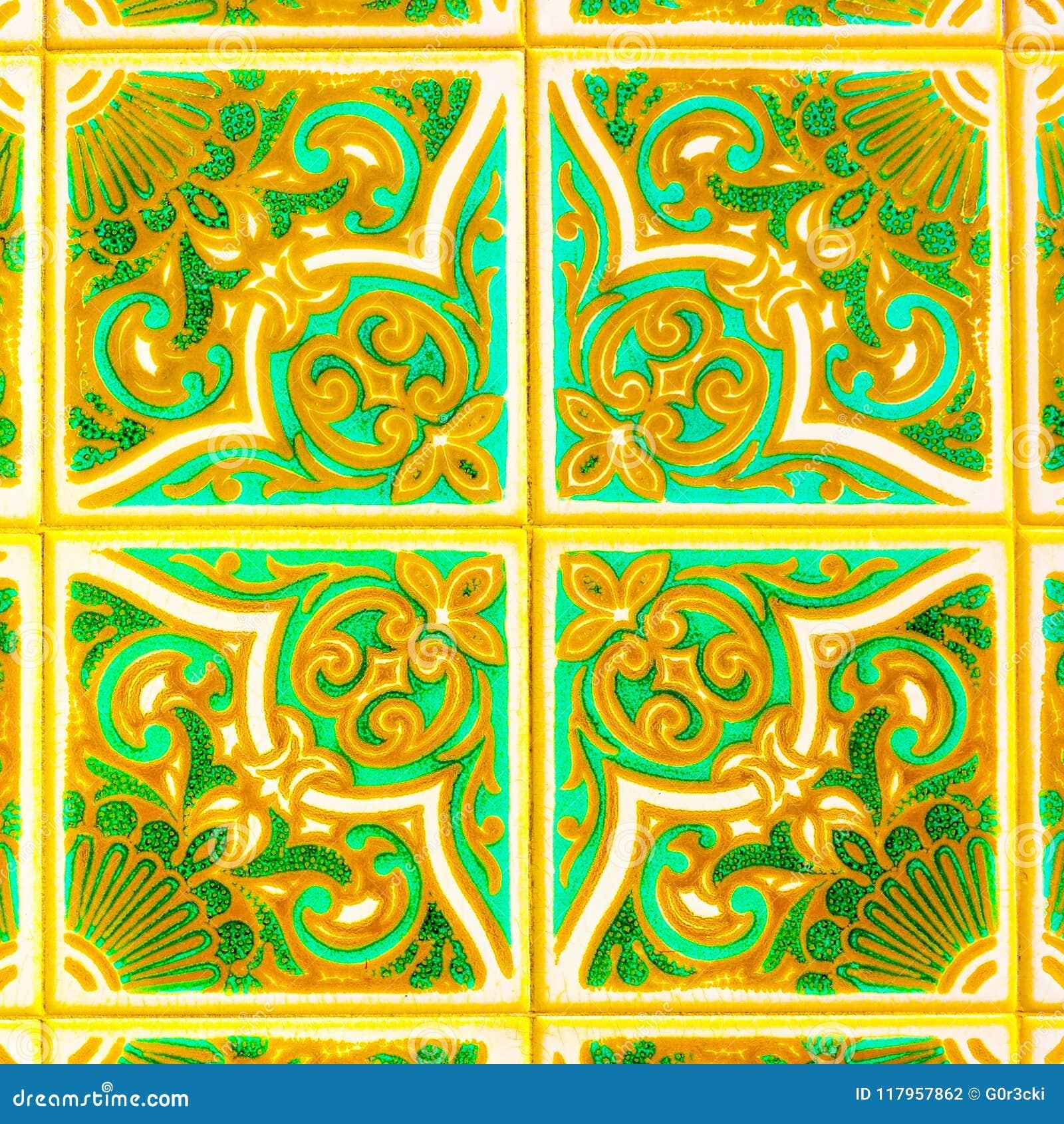 Portugese Retro Verglaasde Tegels met Geometrisch Patroon, Met de hand gemaakte Azulejos, de Straatkunst van Portugal, Abstracte