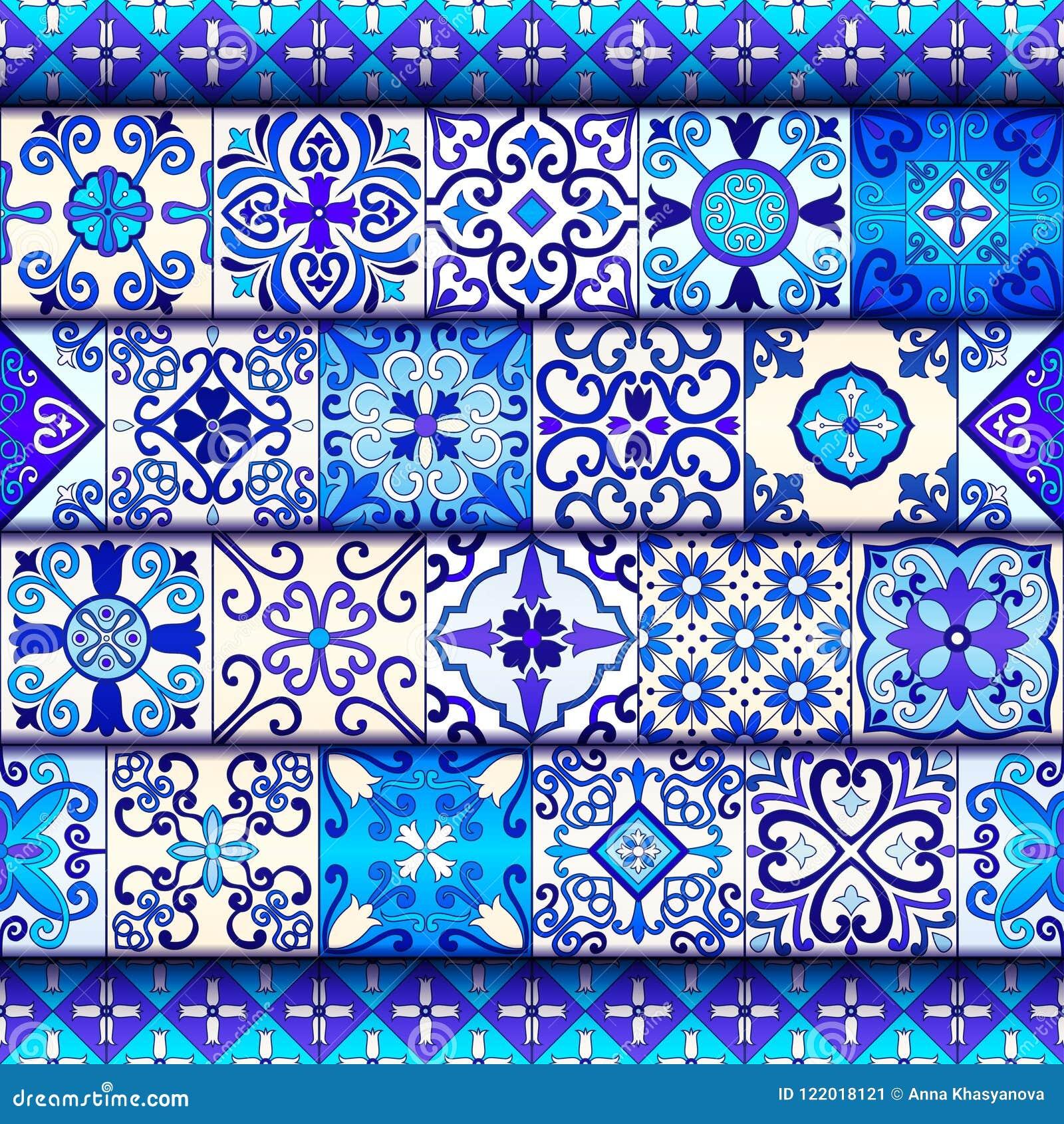 Portugis belägger med tegel den sömlösa modellvektorn med blått- och vitprydnader Talavera, azulejo, mexikan, spanjor eller arabi