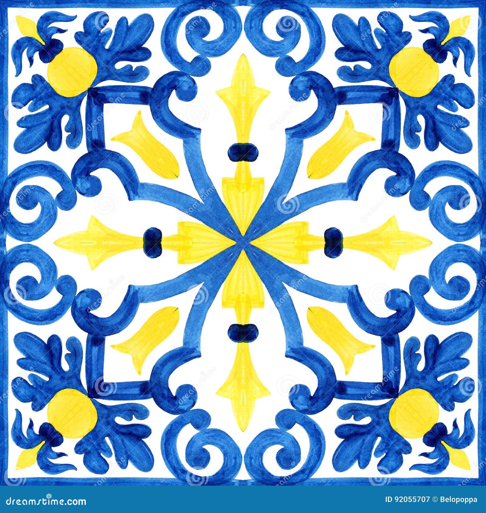 Portugisiska azulejotegelplattor Sömlös modell för vattenfärg