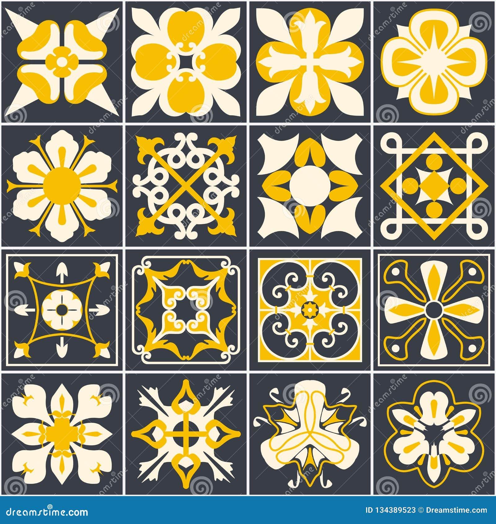 Portugisiska tegelplattor Bakgrund Medelhavs- stil Flerfärgad design