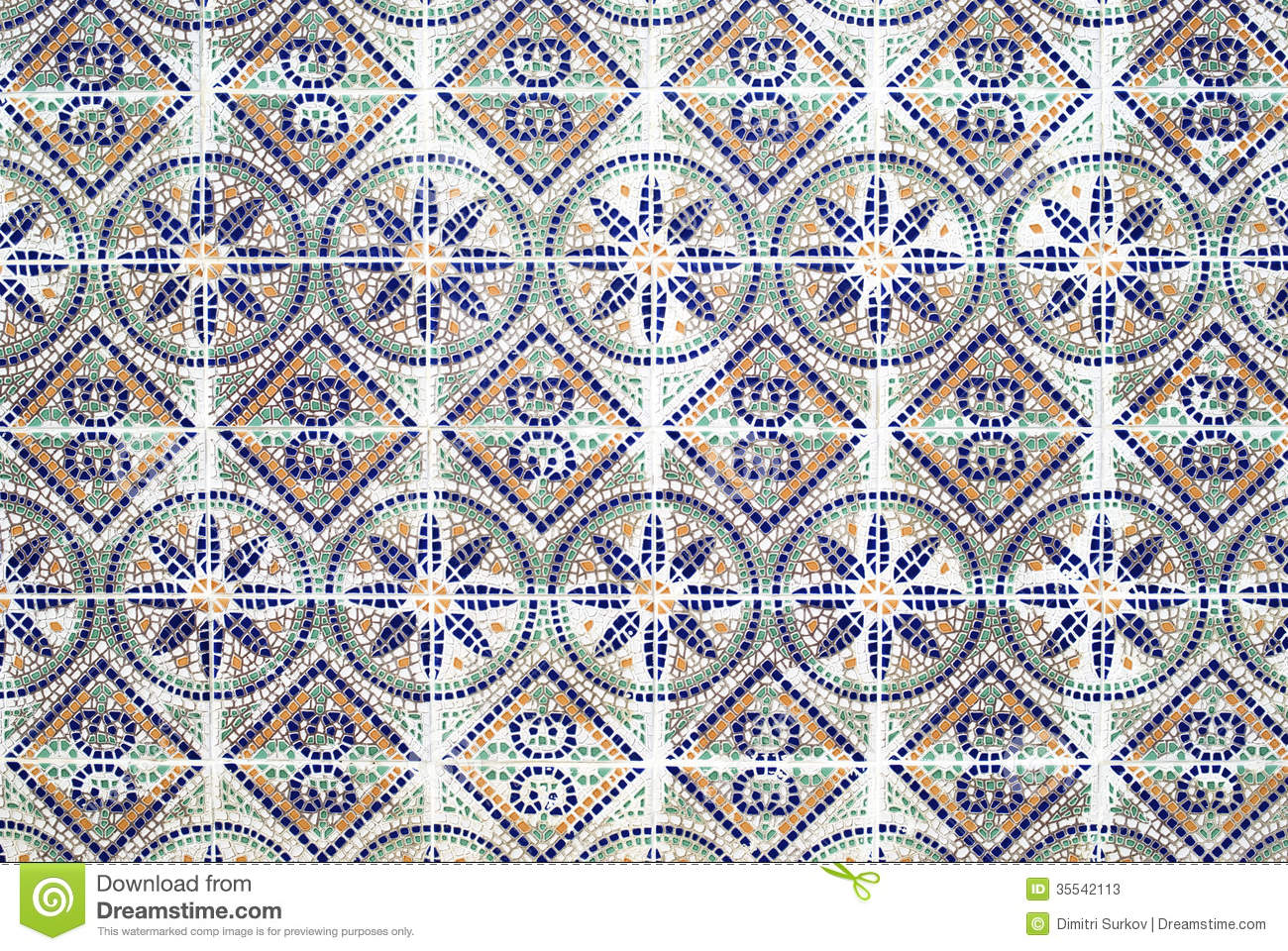 Portuguese Azulejos Old Tiled Background Stock Image