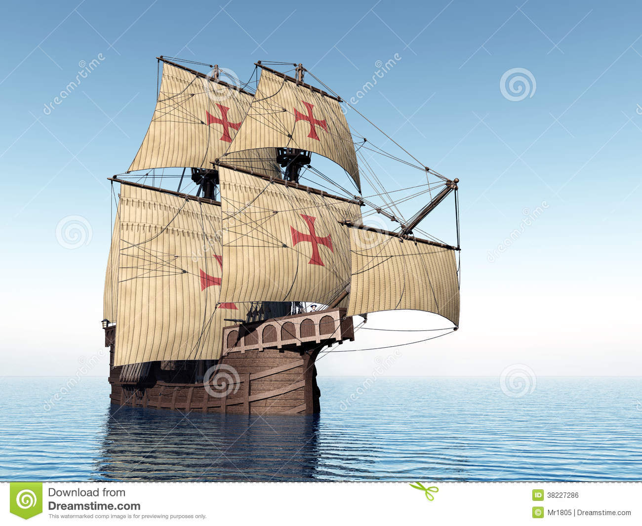 Computer generated 3D illustration with a Portuguese Caravel of the ...