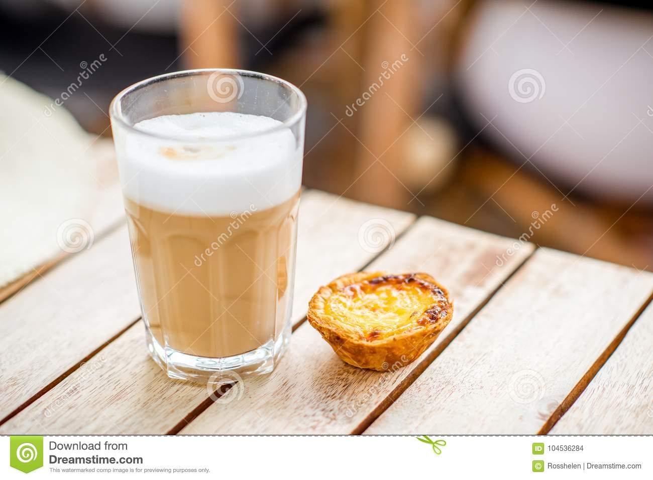 Portuguese coffee with sweet dessert