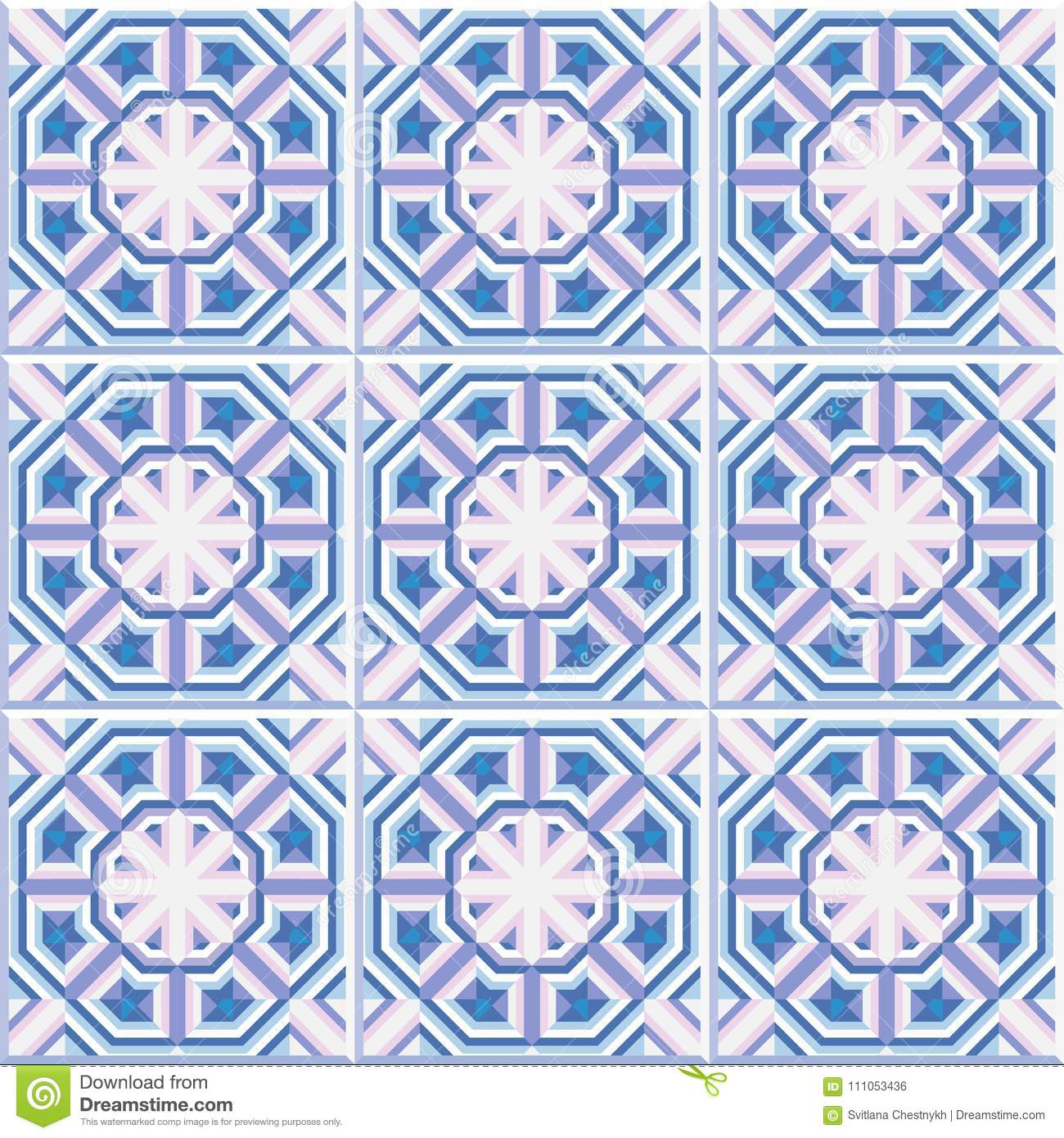 Portuguese Floor Tiles Design, Seamless Pattern, Abstract Geometric ...