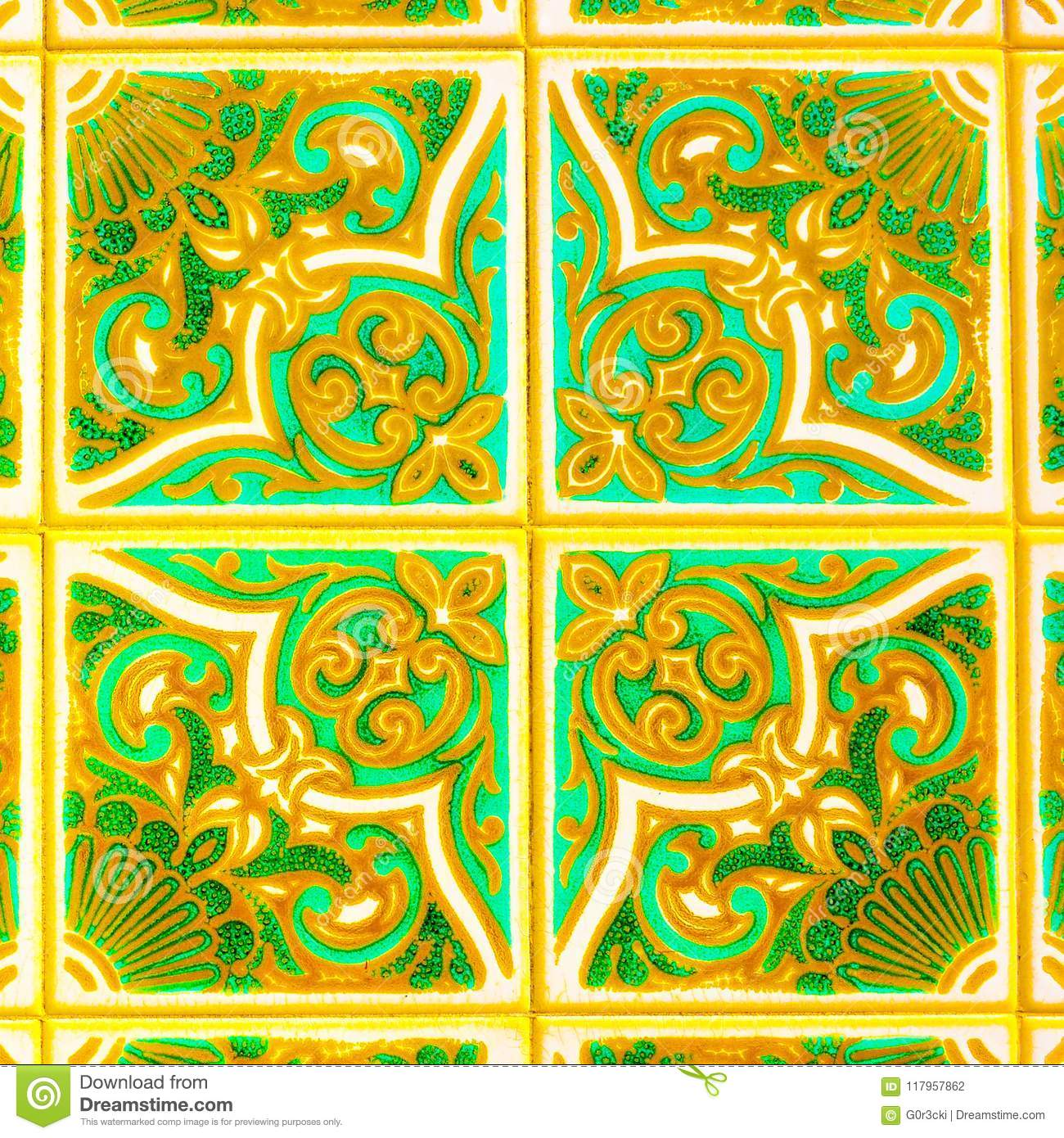 Portuguese Retro Glazed Tiles with Geometrical Pattern, Handmade Azulejos, Portugal Street Art, Abstract Background