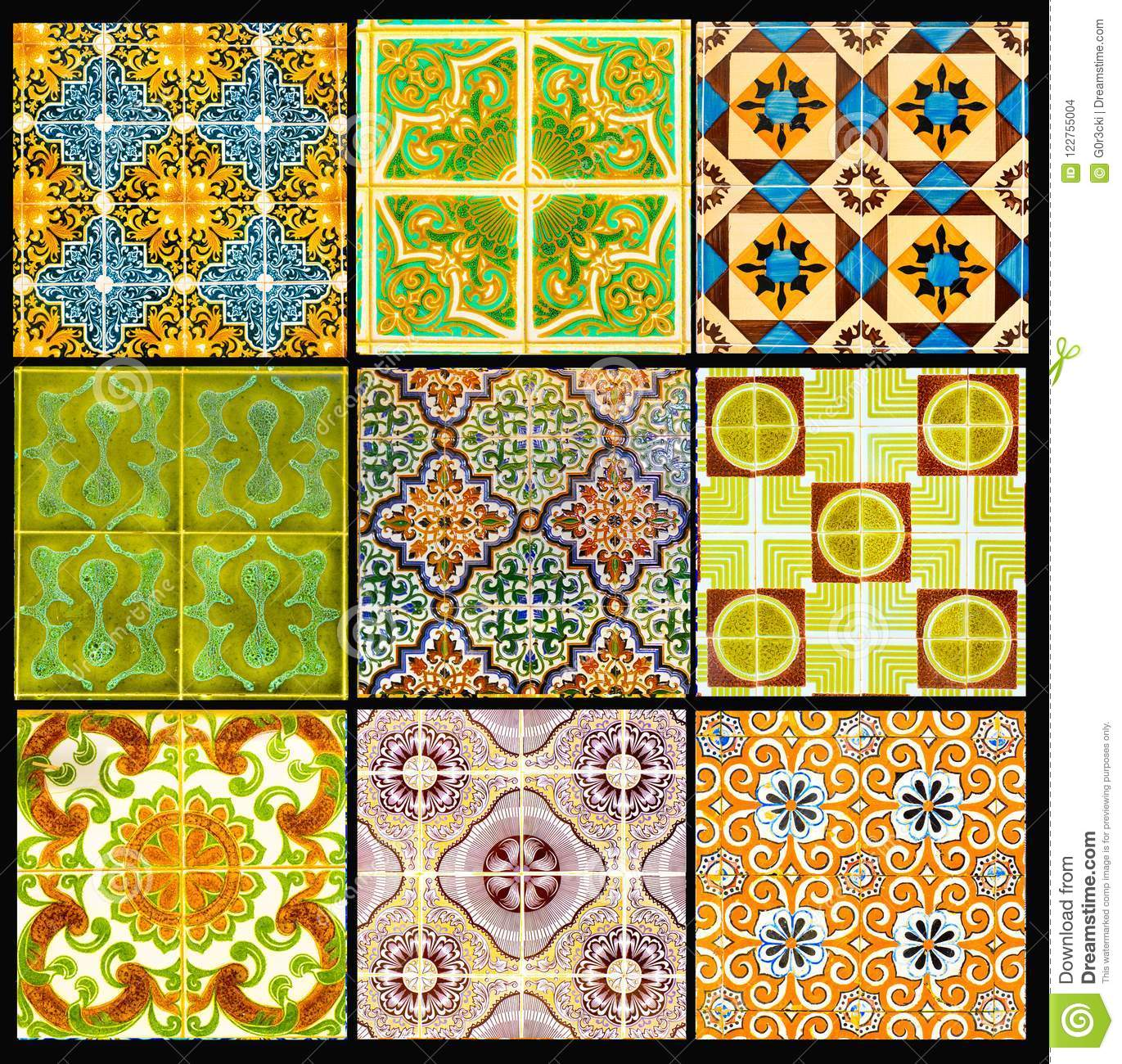Portuguese Tiles with Retro Geometrical Pattern, Glazed Handmade Azulejos, Portugal Street Art, Patchwork