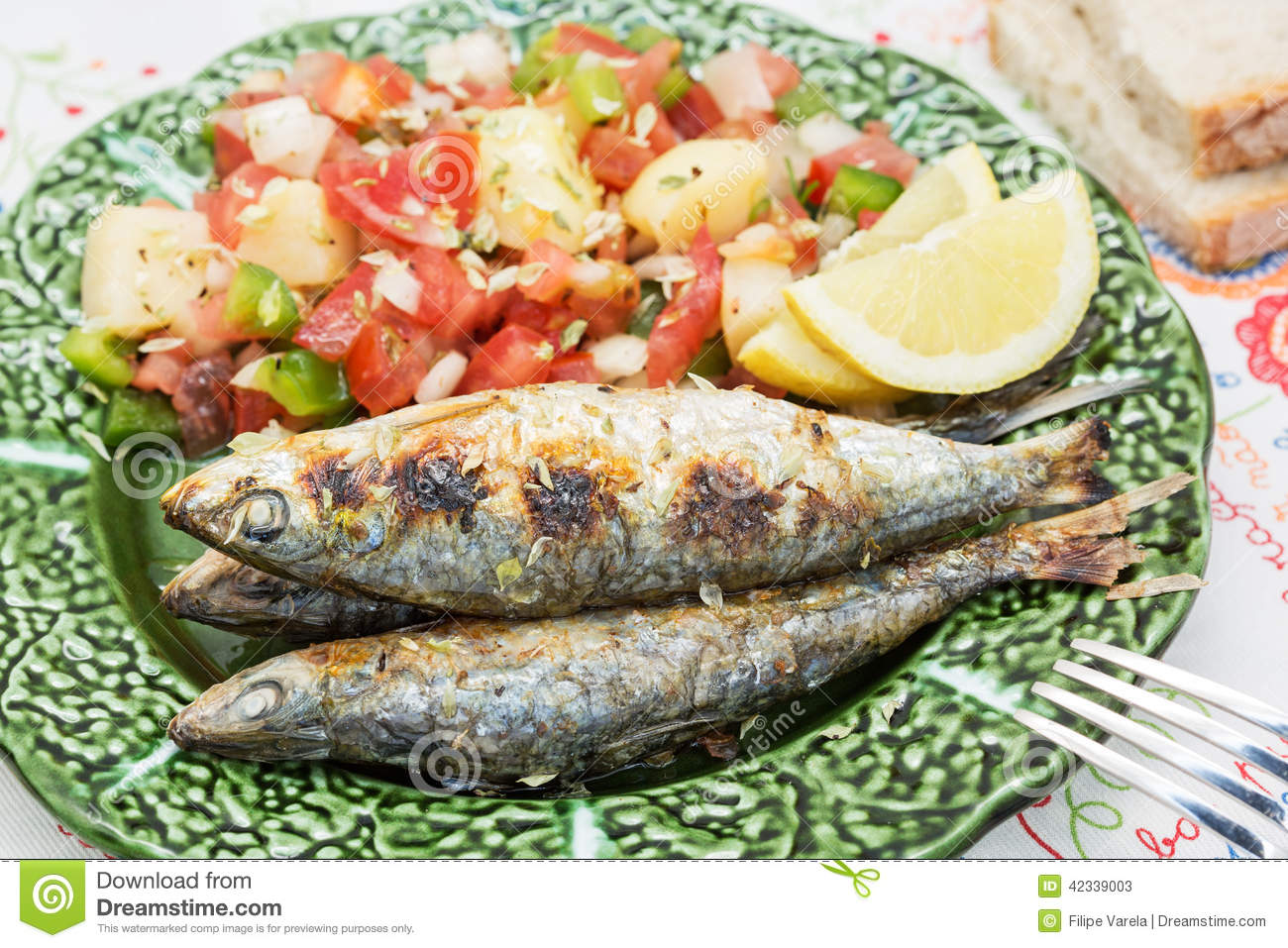 Portuguese Style Grilled Sardines With Salad Stock Photo ...