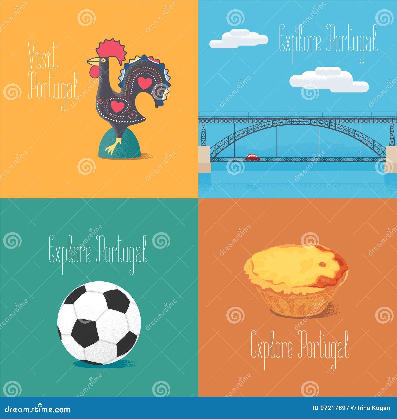 Portuguese Symbol Barcelos Rooster Football Bridge Dom Luis Vector