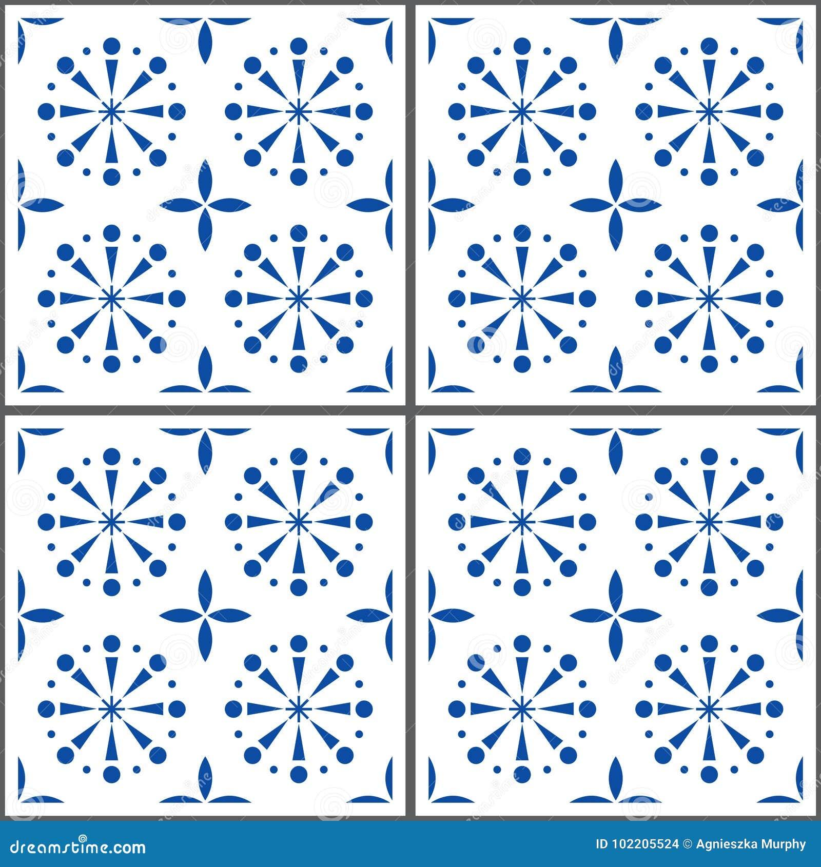 Portuguese Tile Pattern, Lisbon Seamless Indigo Blue Tiles, Azulejos ...
