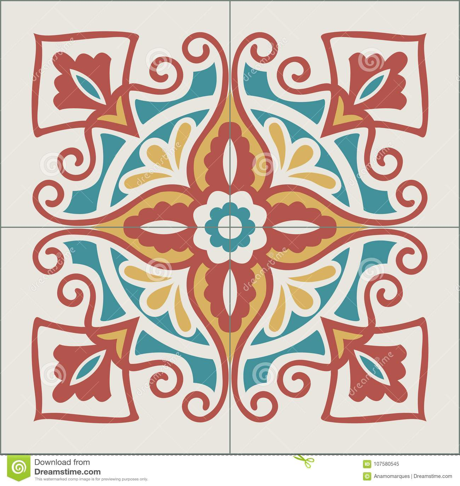 Portuguese tiles pattern. Vintage background - Victorian ceramic