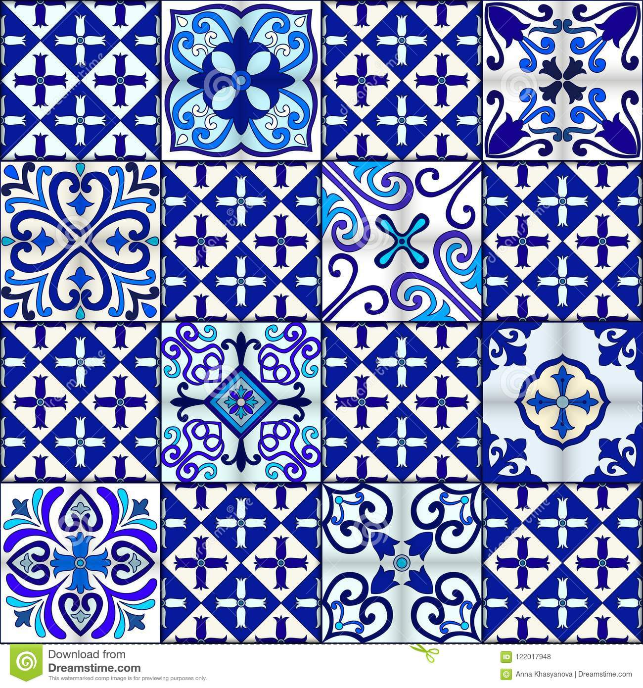 Portuguese tiles seamless pattern vector with blue and white ornaments. Talavera, azulejo, mexican, spanish or arabic motifs.
