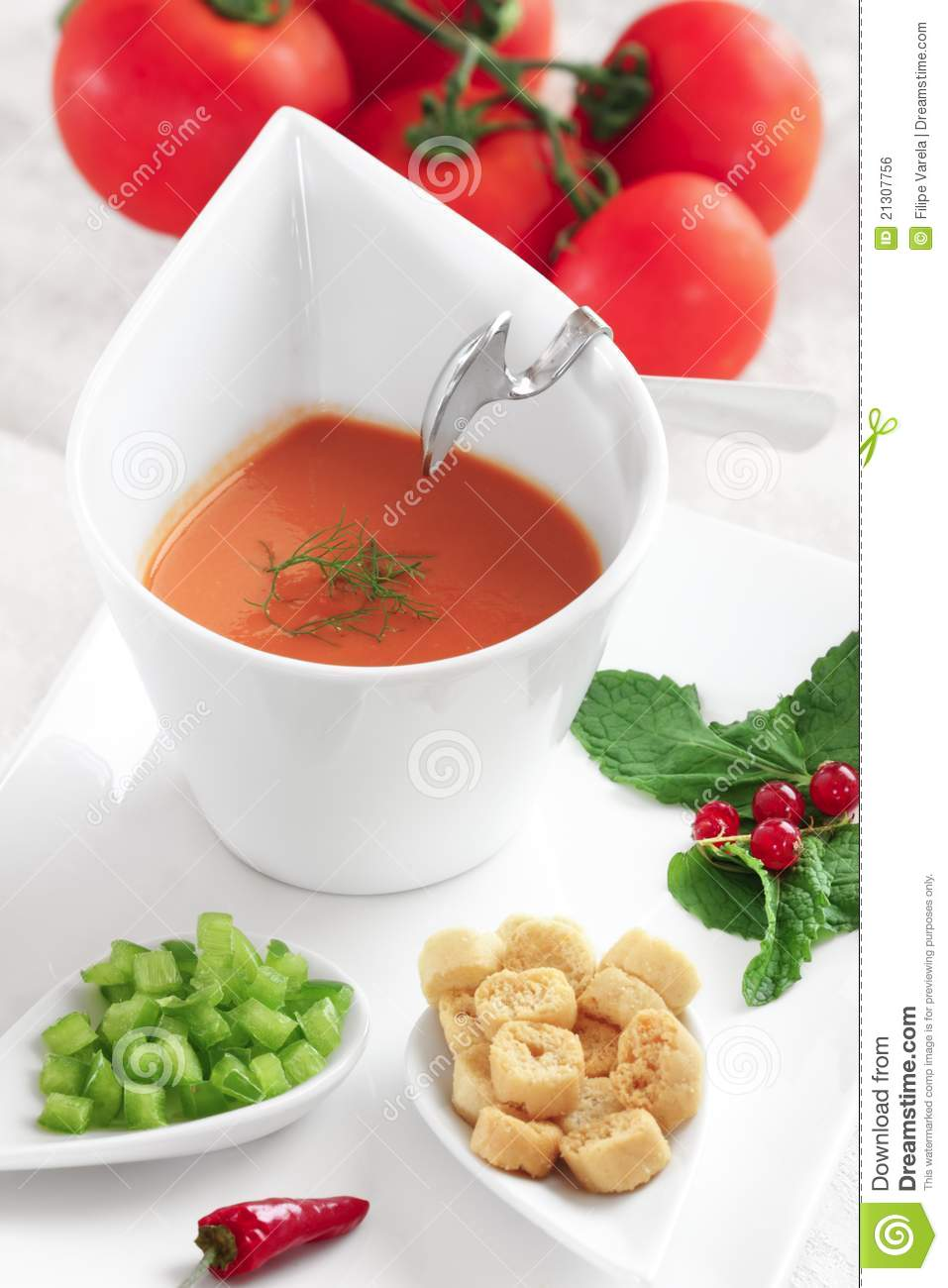 Portuguese Traditional Cold Tomato Soup-gazpacho Royalty Free Stock ...